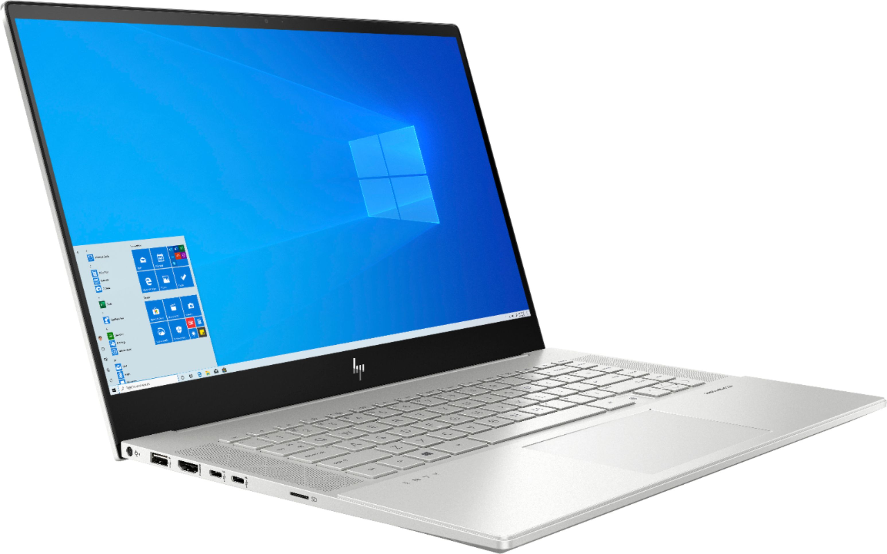 """Angle Zoom. HP - ENVY 15.6"""" 4K UHD Touch-Screen Laptop -  Intel Core i7 - 16GB Memory - NVIDIA GeForce RTX 2060 - 512GB SSD + 32GB Optane - Natural Silver."""