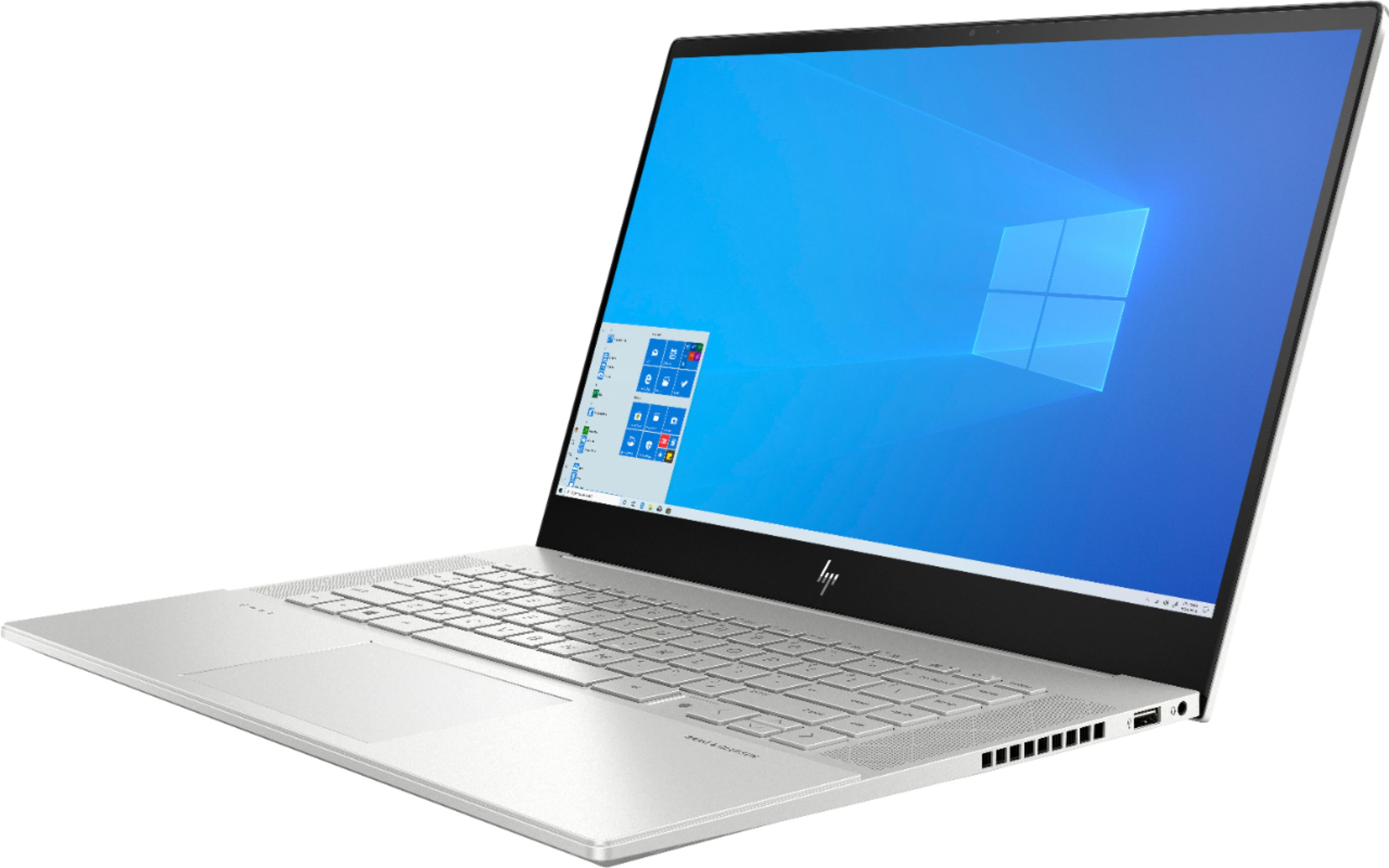 """Left Zoom. HP - ENVY 15.6"""" 4K UHD Touch-Screen Laptop -  Intel Core i7 - 16GB Memory - NVIDIA GeForce RTX 2060 - 512GB SSD + 32GB Optane - Natural Silver."""