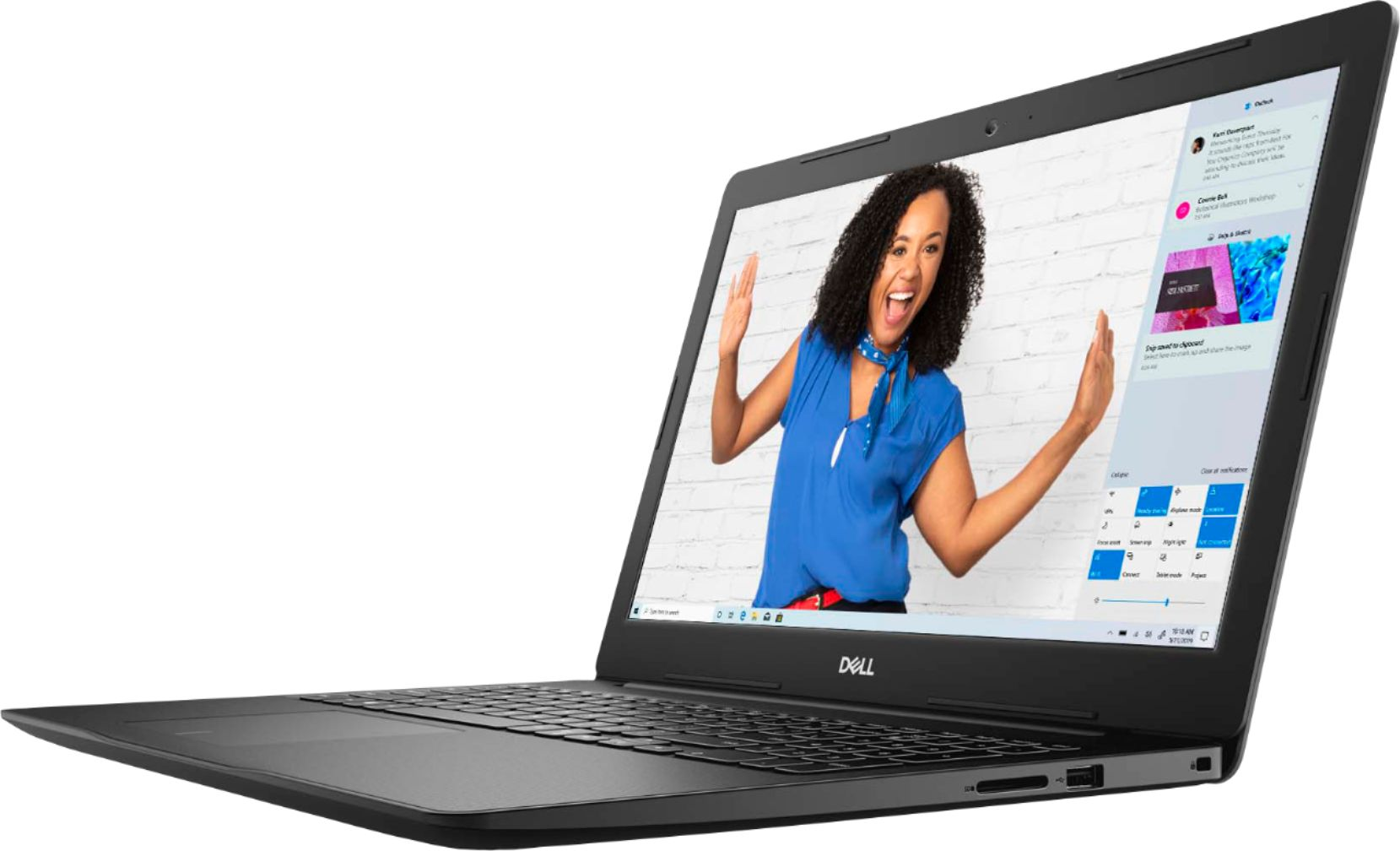 """Left Zoom. Dell - Inspiron 15.6"""" Touch-Screen Laptop - Intel Core i3 - 8GB Memory - 128GB SSD - Black."""