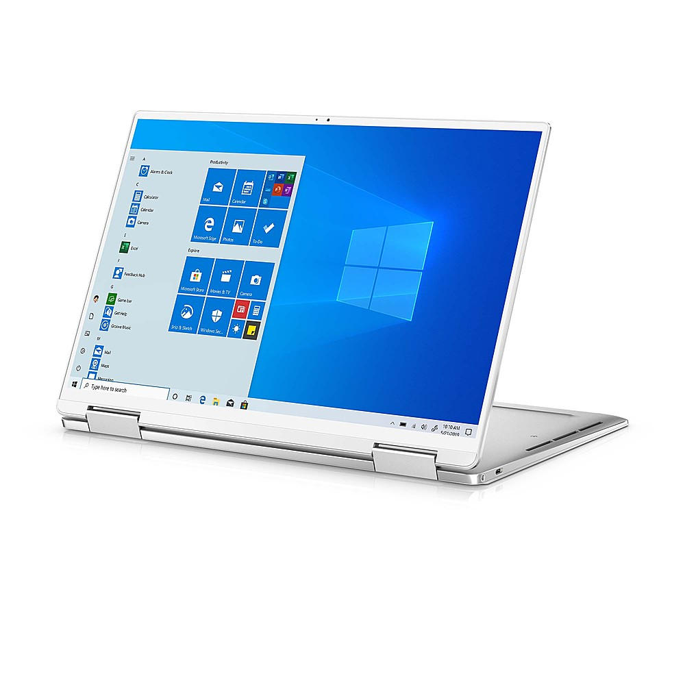 """Front Zoom. Dell - XPS 13.4"""" 2-in-1 Touch UHD+ Laptop - Intel Core i7- 32GB Memory - 1TB Solid State Drive - Platinum Silver, Arctic White interior."""