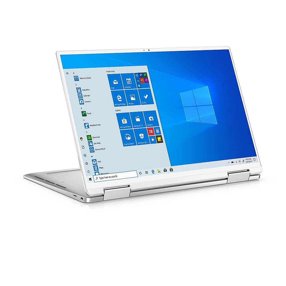 """Angle Zoom. Dell - XPS 13.4"""" 2-in-1 Touch UHD+ Laptop - Intel Core i7- 32GB Memory - 1TB Solid State Drive - Platinum Silver, Arctic White interior."""