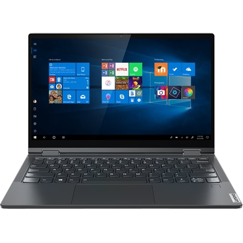 """Front Standard. Lenovo - Yoga C640 13 2-in-1 13.3"""" Touch-Screen Laptop - Intel Core i3 - 8GB Memory - 128GB SSD - Iron Gray."""