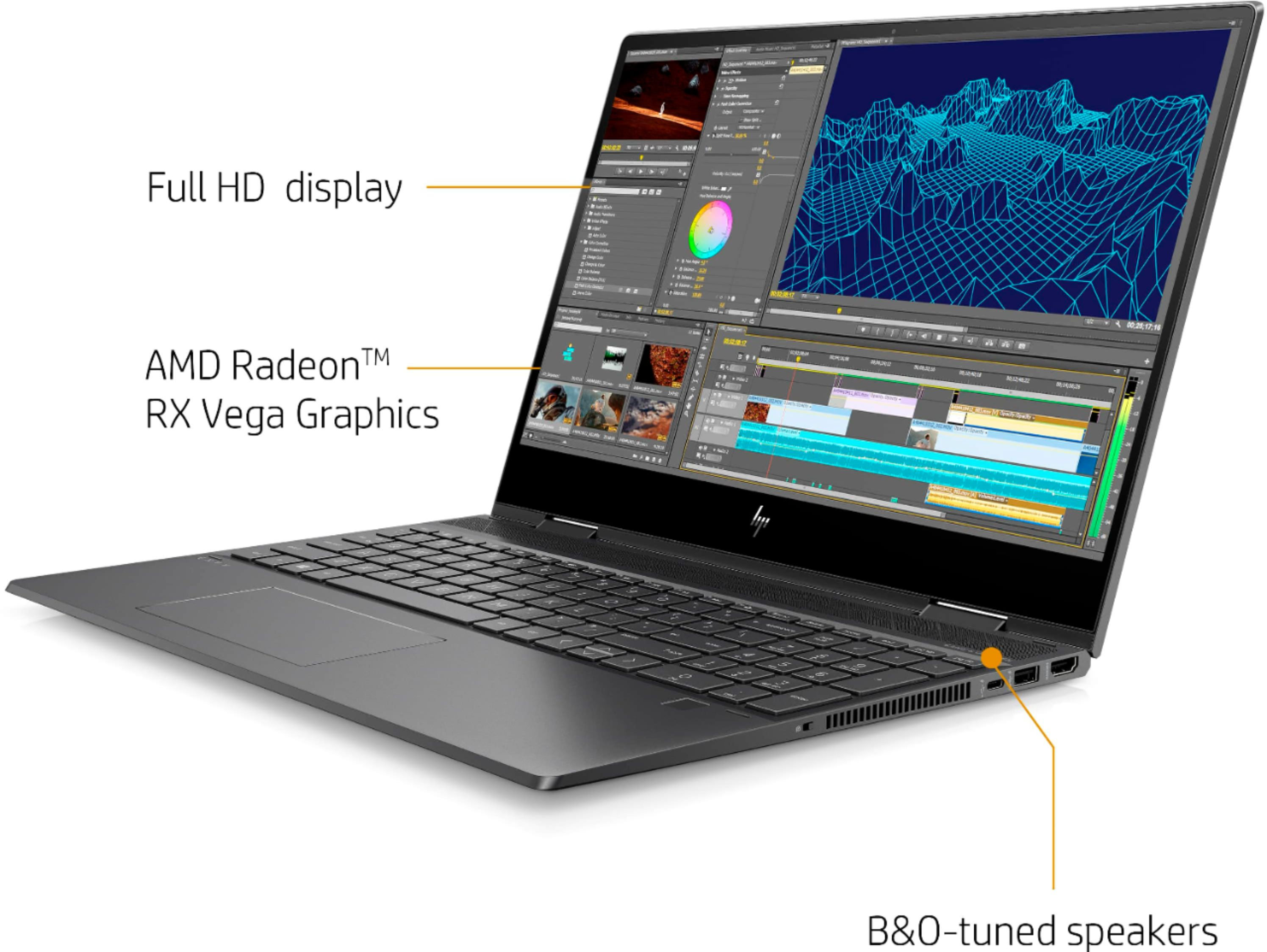 """Angle Zoom. HP - ENVY x360 2-in-1 15.6"""" Touch-Screen Laptop - AMD Ryzen 5 - 8GB Memory - 256GB Solid State Drive - Sandblasted Anodized Finish, Nightfall Black."""