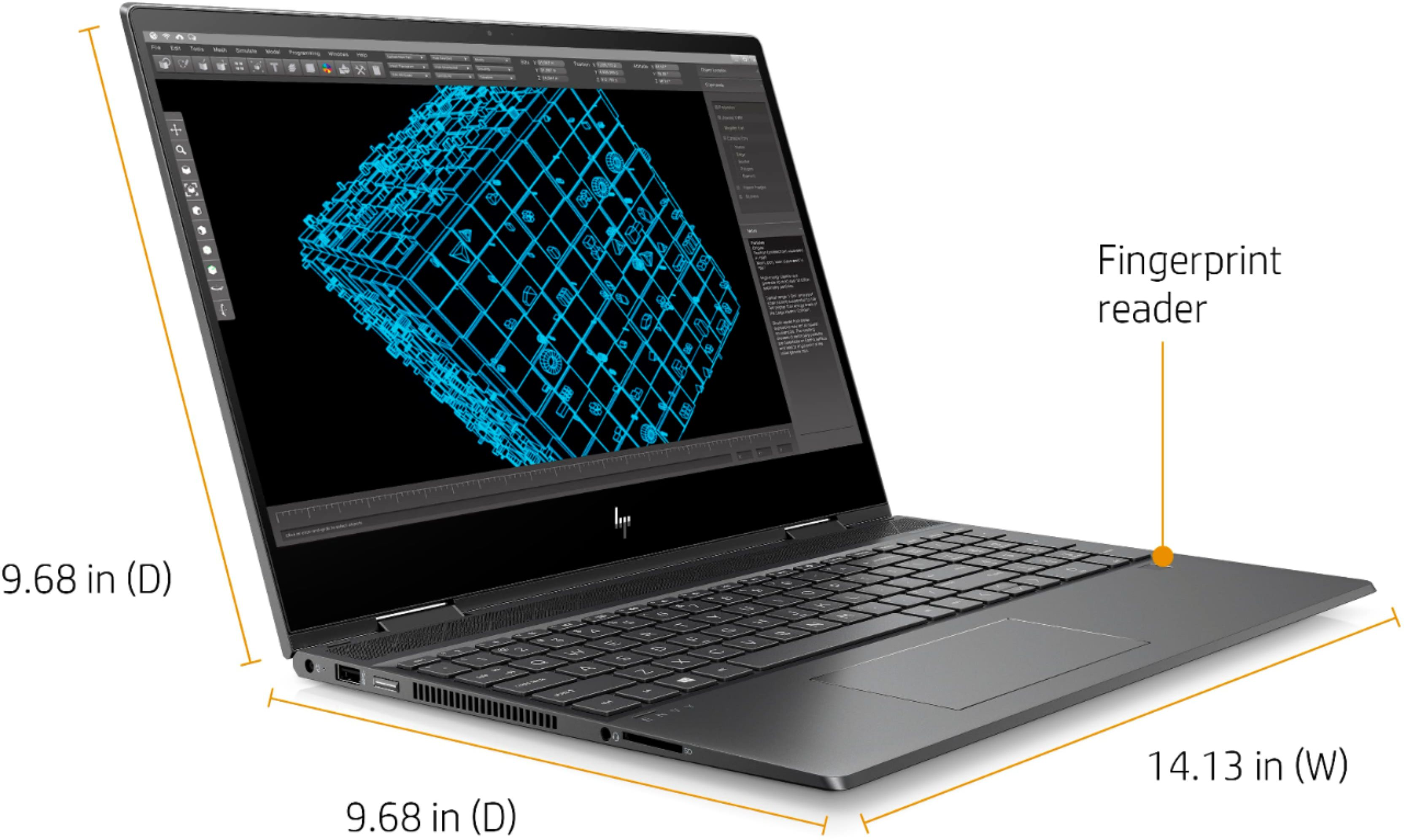 """Left Zoom. HP - ENVY x360 2-in-1 15.6"""" Touch-Screen Laptop - AMD Ryzen 5 - 8GB Memory - 256GB Solid State Drive - Sandblasted Anodized Finish, Nightfall Black."""