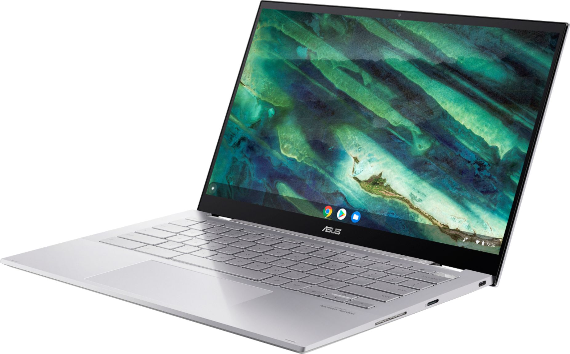 "Left Zoom. ASUS - Chromebook Flip C436 14"" 2-in-1 Touchscreen FHD Laptop - Intel Core i3-10110U 8GB 128GB Magnesium-Alloy -Silver - Silver."