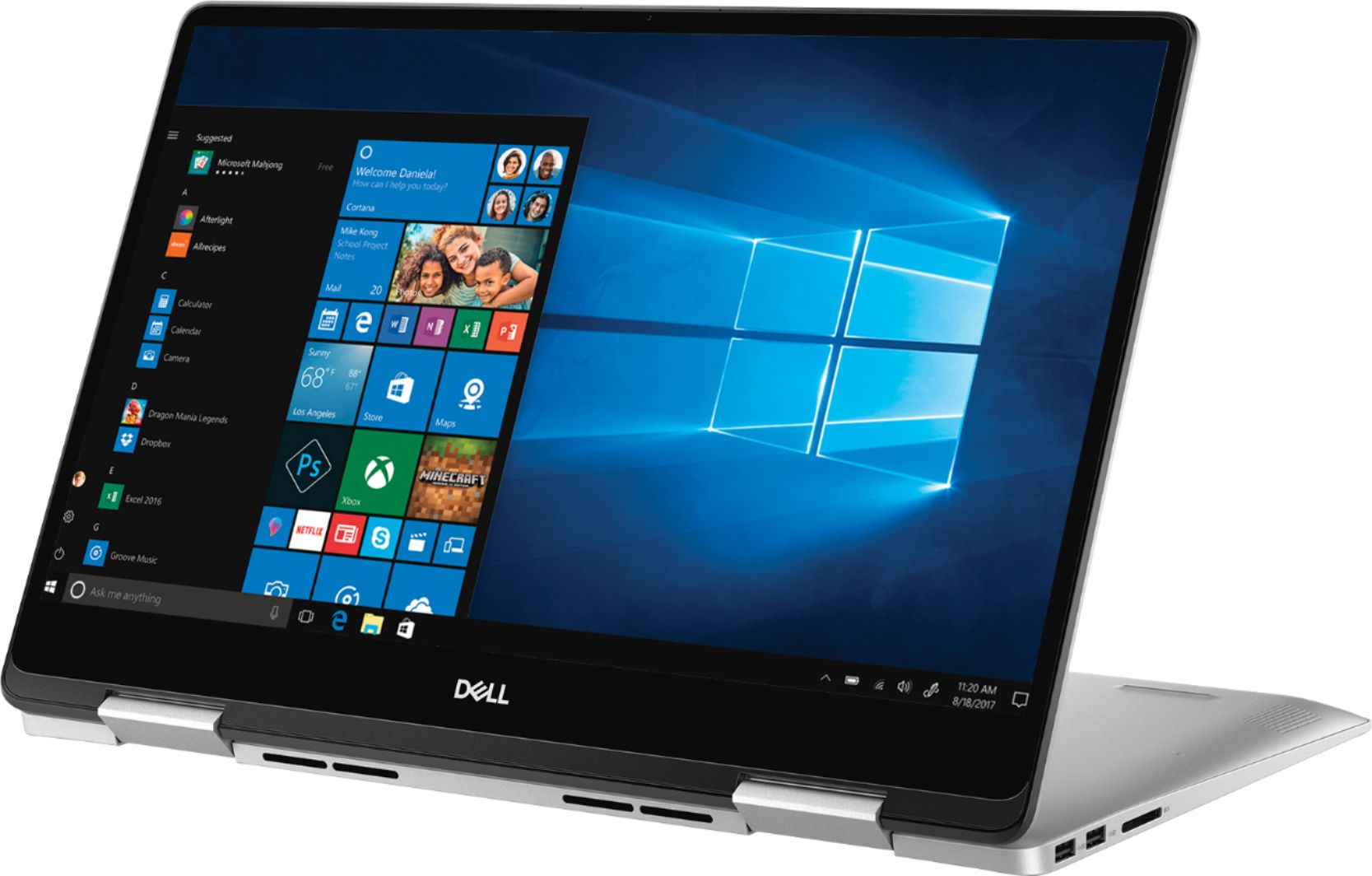"Left Zoom. Dell - Inspiron 2-in-1 15.6"" Geek Squad Certified Refurbished Touch-Screen Laptop - Intel Core i5 - 8GB Memory - 256GB SSD - Silver."