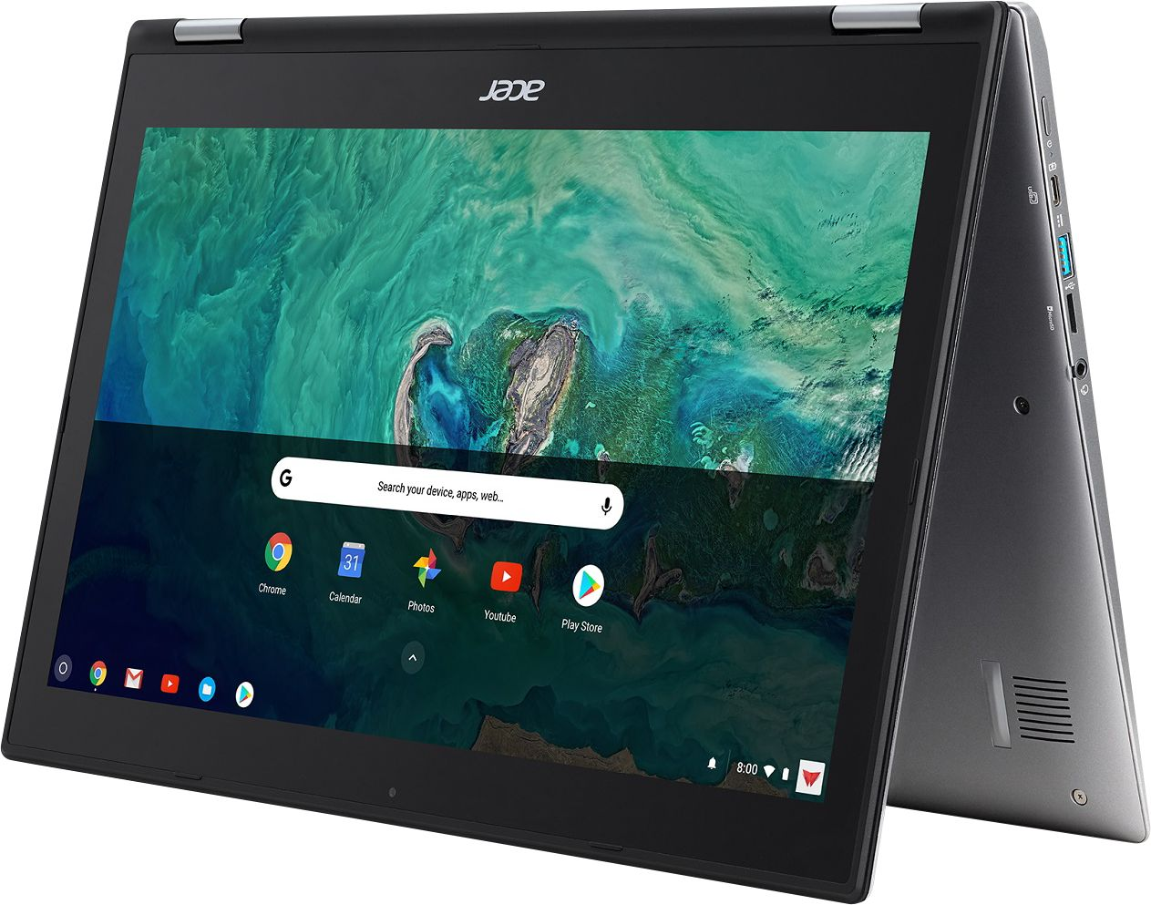 """Alt View Zoom 11. Acer - Geek Squad Certified Refurbished Spin 15 2-in-1 15.6"""" Touch-Screen Chromebook - Intel Pentium - 4GB Memory - 64GB SSD - Sparkly Silver."""