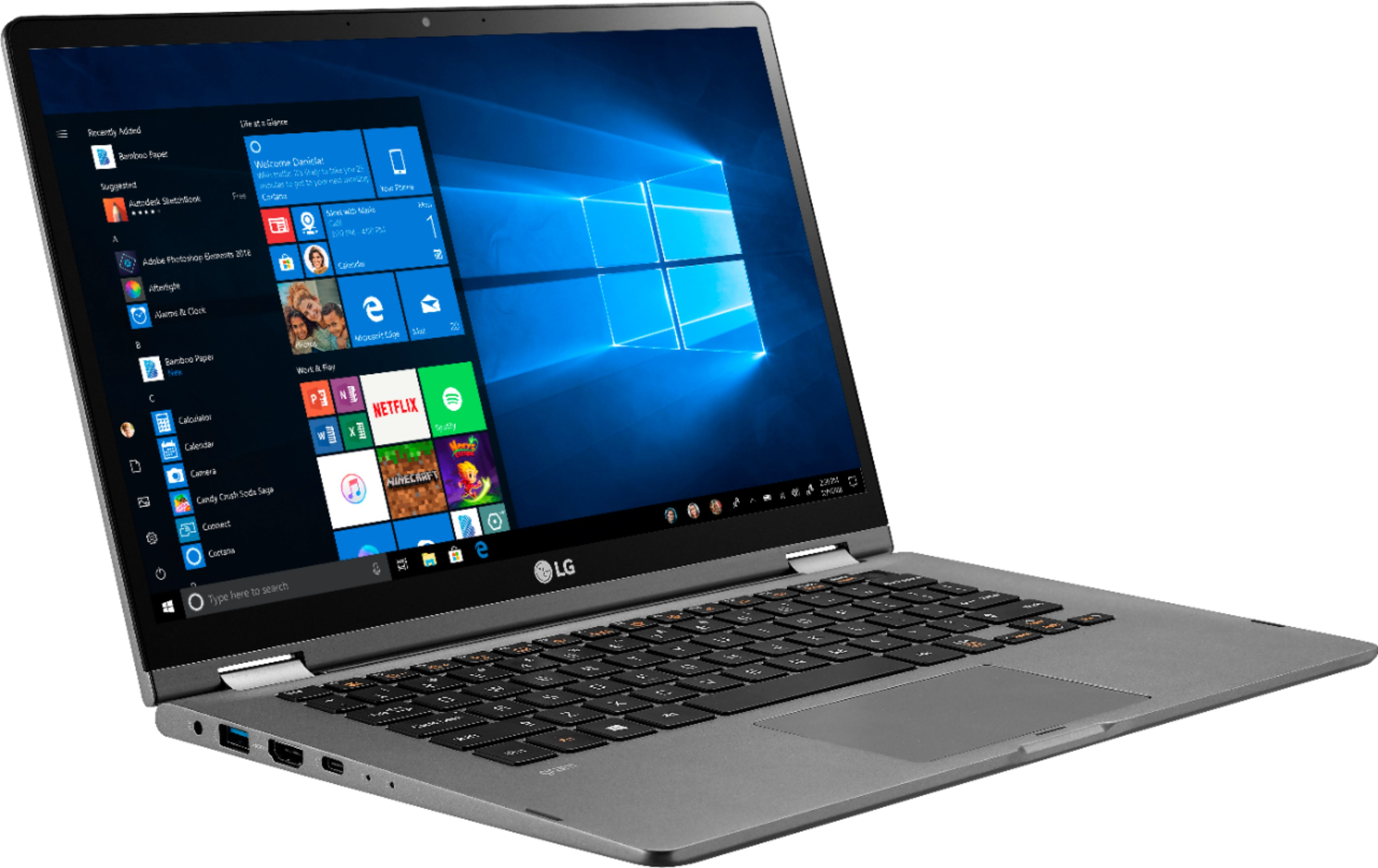 """Angle Zoom. LG - Gram 2-in-1 14"""" Touch-Screen Laptop - Intel Core i7 - 16GB Memory - 1TB SSD - Dark Silver."""