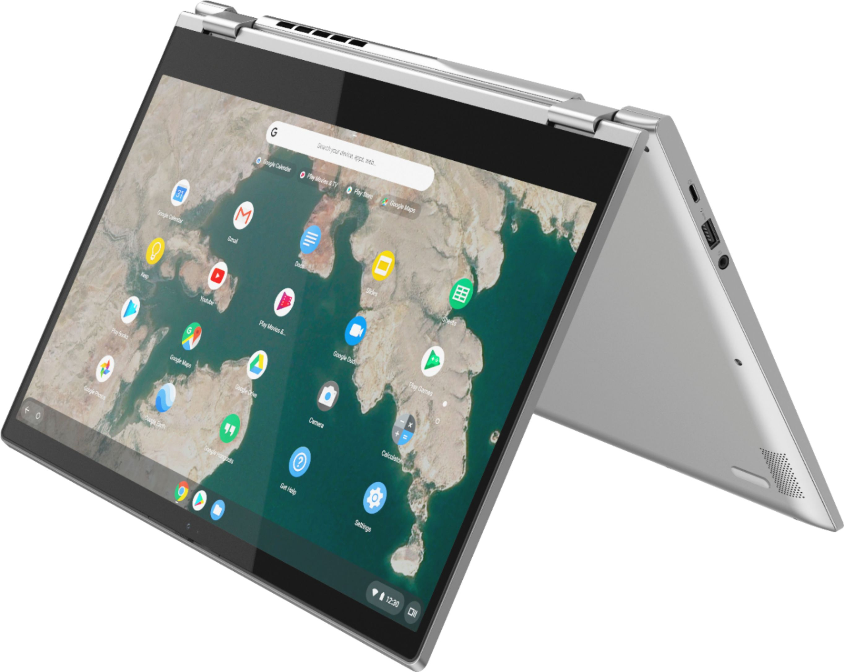 """Left Zoom. Lenovo - C340-15 2-in-1 15.6"""" Touch-Screen Chromebook - Intel Pentium Gold - 4GB Memory - 64GB eMMC Flash Memory - Mineral Gray."""