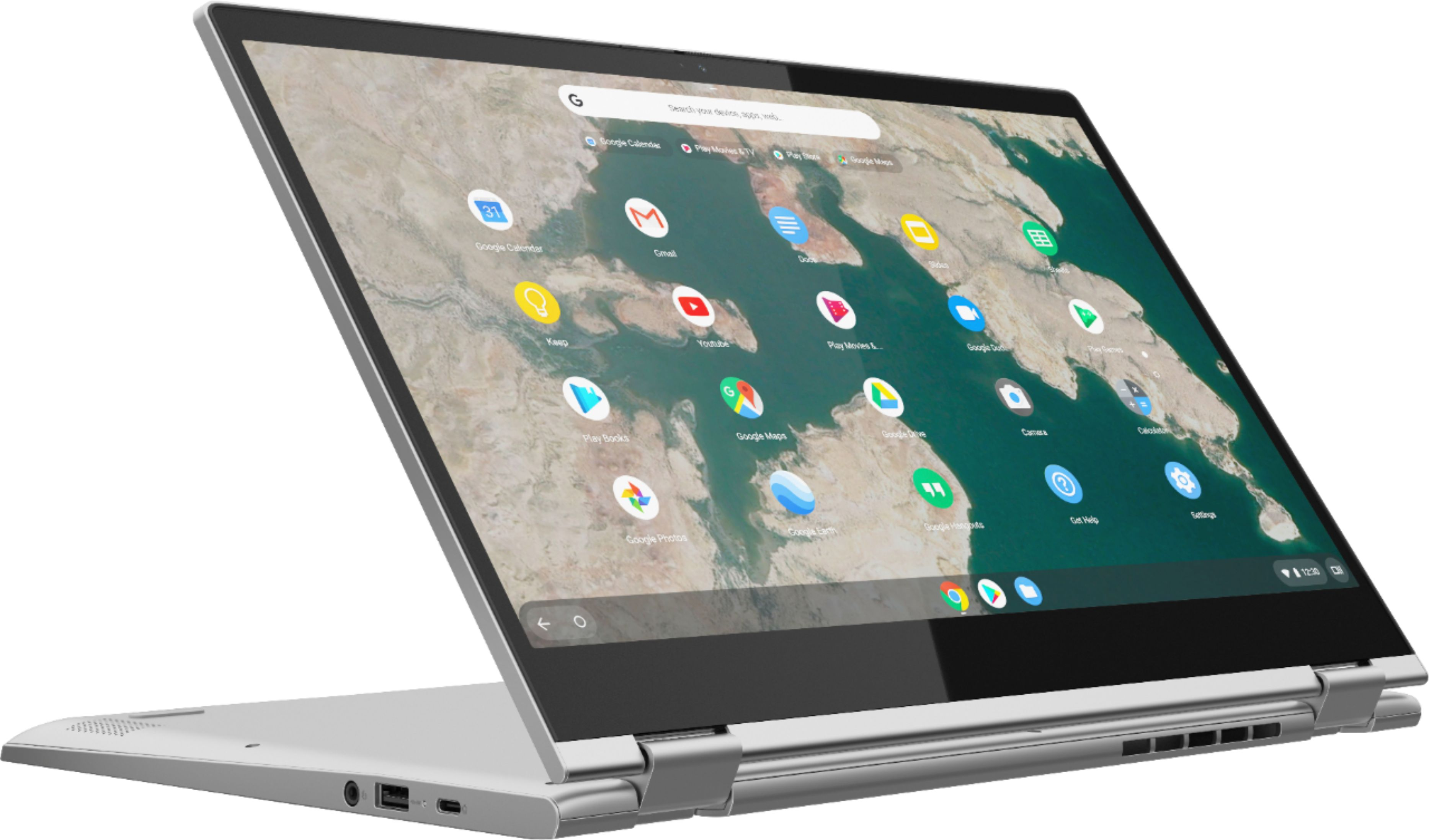 """Angle Zoom. Lenovo - C340-15 2-in-1 15.6"""" Touch-Screen Chromebook - Intel Pentium Gold - 4GB Memory - 64GB eMMC Flash Memory - Mineral Gray."""