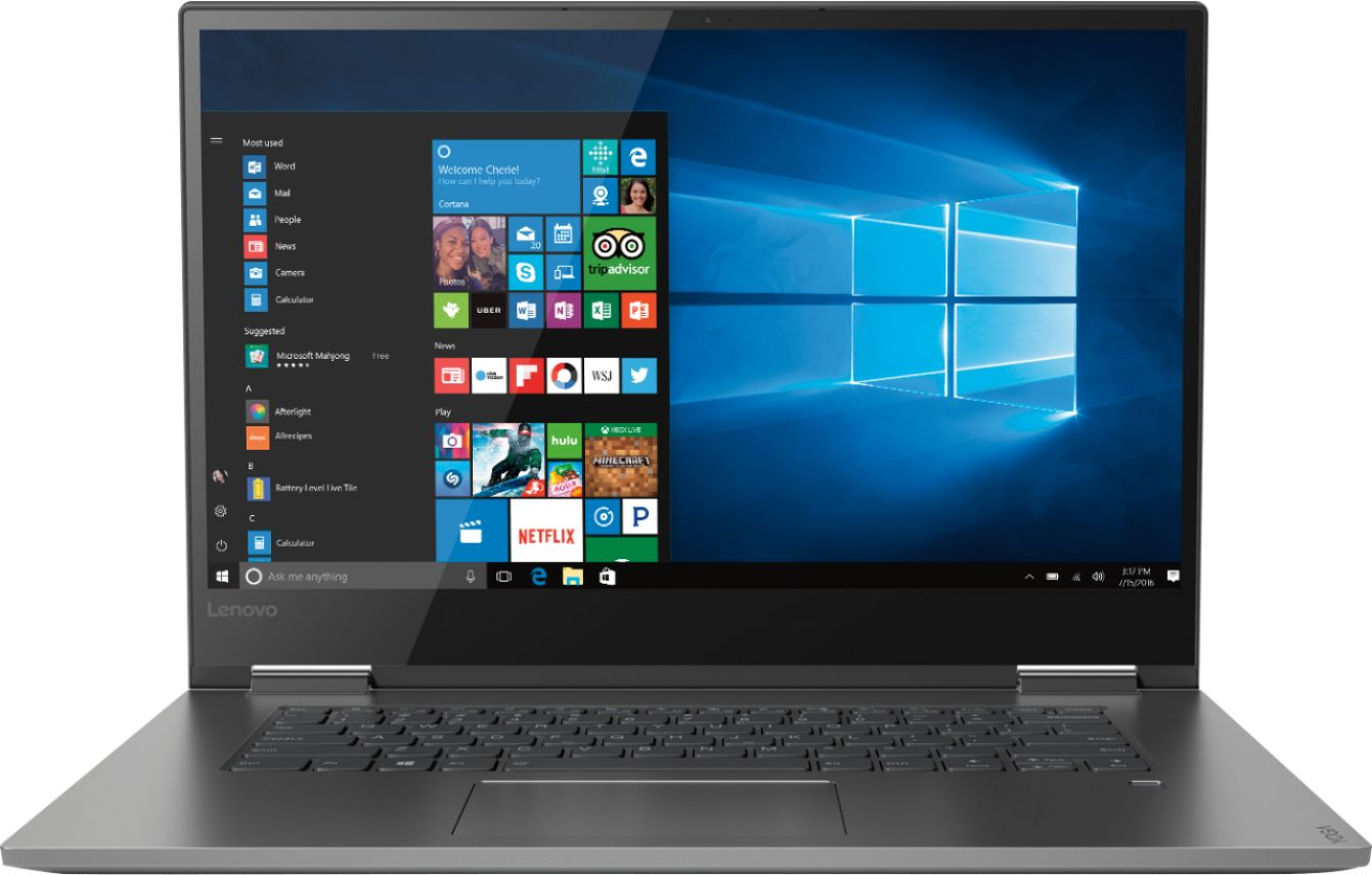 """Front Zoom. Lenovo - Geek Squad Certified Refurbished Yoga 730 2-in-1 15.6"""" Touch-Screen Laptop - Intel Core i7 - 8GB Memory - 256GB SSD - Iron Gray."""