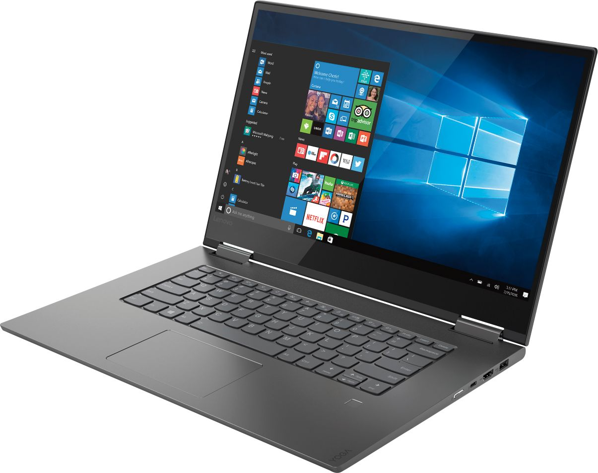 """Left Zoom. Lenovo - Geek Squad Certified Refurbished Yoga 730 2-in-1 15.6"""" Touch-Screen Laptop - Intel Core i7 - 8GB Memory - 256GB SSD - Iron Gray."""