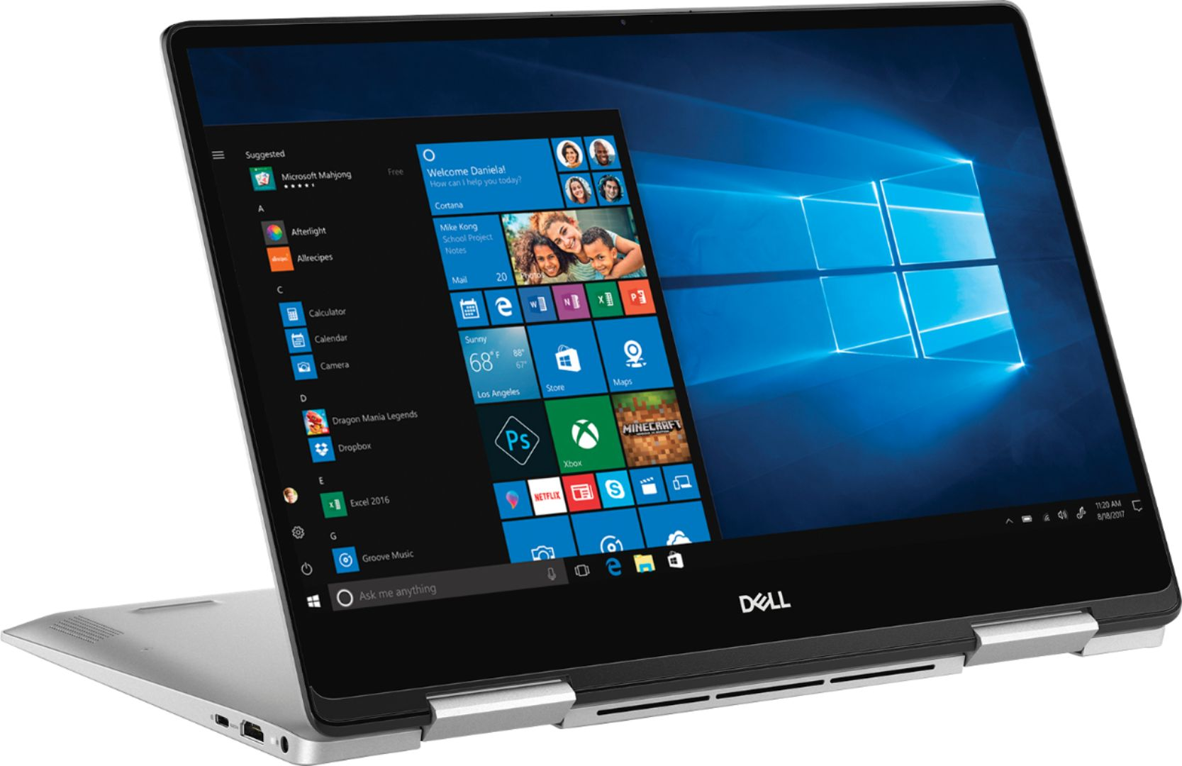 "Angle Zoom. Dell - Inspiron 2-in-1 13.3"" Geek Squad Certified Refurbished Touch-Screen Laptop - Intel Core i5 - 8GB Memory - 256GB SSD - Silver."