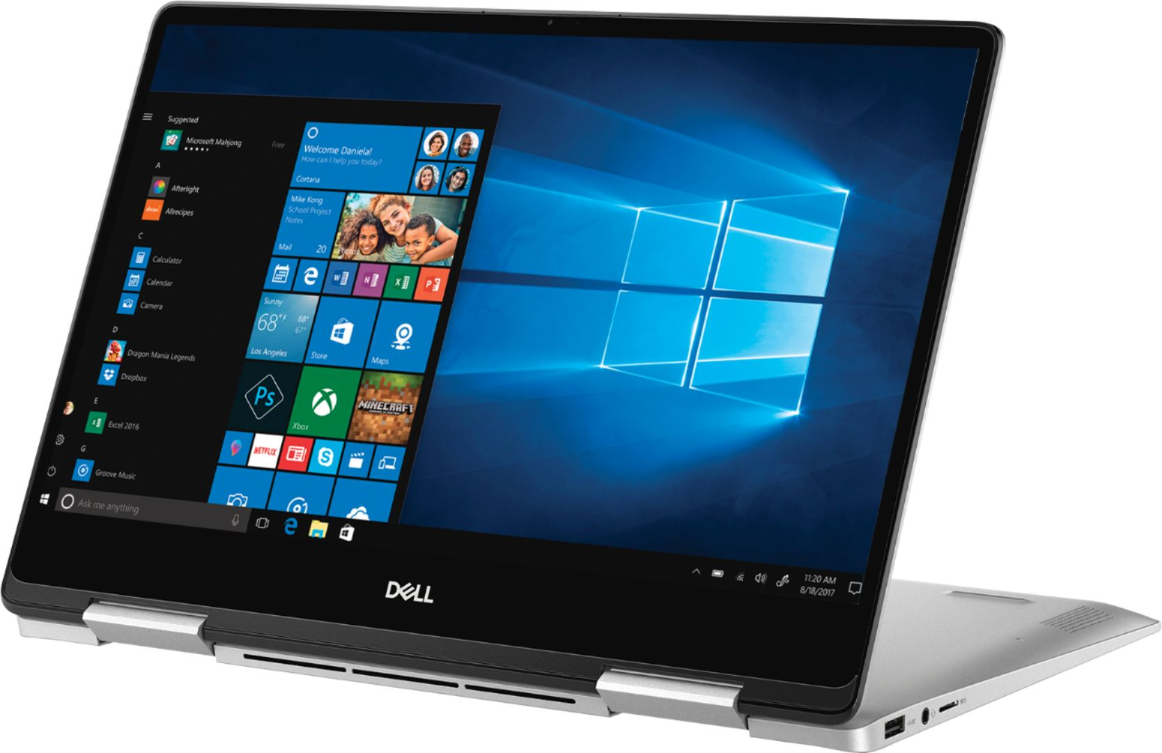 "Left Zoom. Dell - Inspiron 2-in-1 13.3"" Geek Squad Certified Refurbished Touch-Screen Laptop - Intel Core i5 - 8GB Memory - 256GB SSD - Silver."