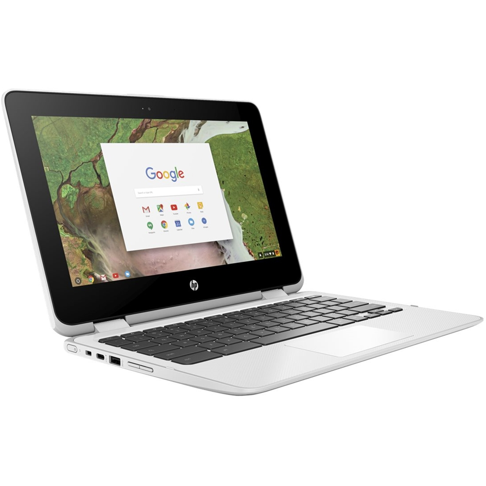 """Left Zoom. HP - 2-in-1 11.6"""" Touch-Screen Chromebook - Intel Celeron - 4GB Memory - 32GB eMMC Flash Memory - Snow White."""