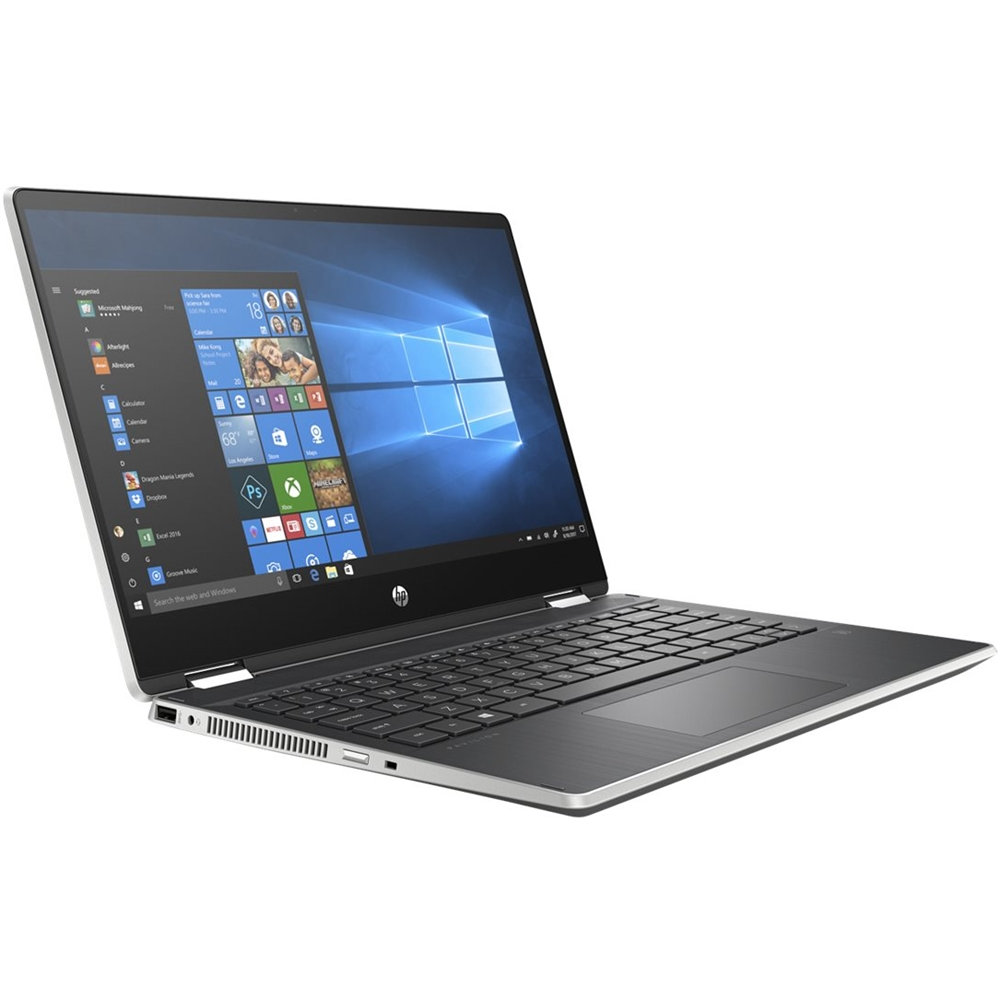 """Left Zoom. HP - Pavilion x360 2-in-1 14"""" Touch-Screen Laptop - Intel Core i5 - 8GB Memory - 256GB SSD - Natural Silver, Vertical Brushed Pattern."""