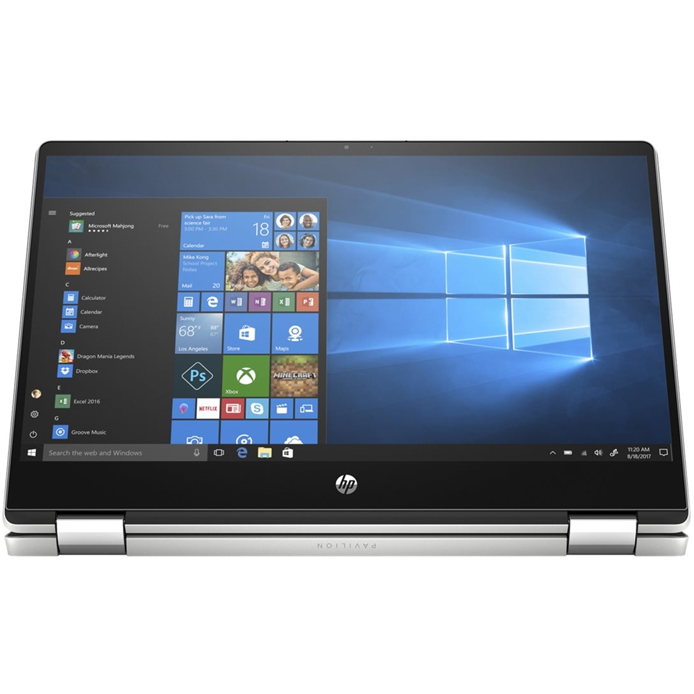 """Front Zoom. HP - Pavilion x360 2-in-1 14"""" Touch-Screen Laptop - Intel Core i5 - 8GB Memory - 256GB SSD - Natural Silver, Vertical Brushed Pattern."""