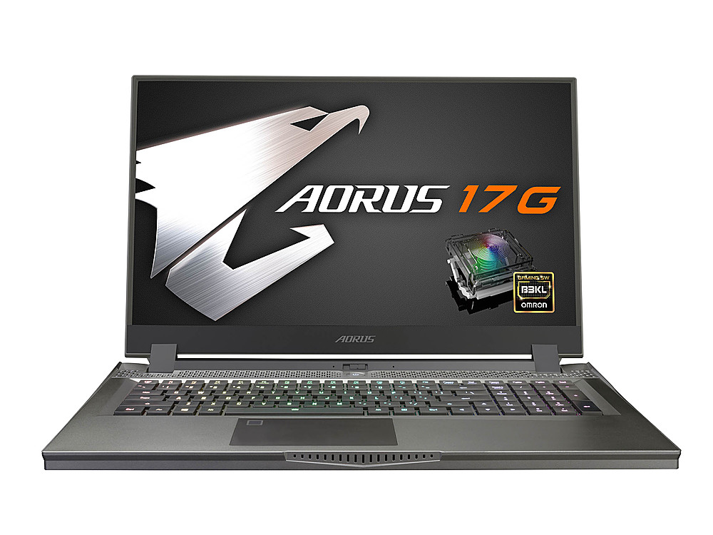 """Front Zoom. Gigabyte -  17.3"""" FHD Gaming Laptop - Intel Core i7 -16GB  -  NVIDIA GeForce RTX 2070 Super With Max-Q- 512GB SSD -Black."""