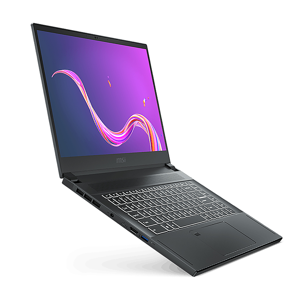 """Angle Zoom. MSI - Creator 15.6 """" Touchscreen Notebook - i7-10875H 16GB  NVIDIA GeForce RTX 2060 with 6 GB 1TB SSD - Space Gray with Silver Diamond Cut."""