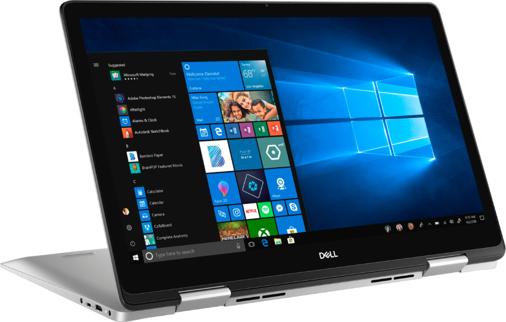 """Angle Zoom. Dell - Inspiron 2-in-1 17.3"""" Geek Squad Certified Refurbished Touch-Screen Laptop - Intel Core i7 - 16GB Memory - 512GB SSD - Silver."""