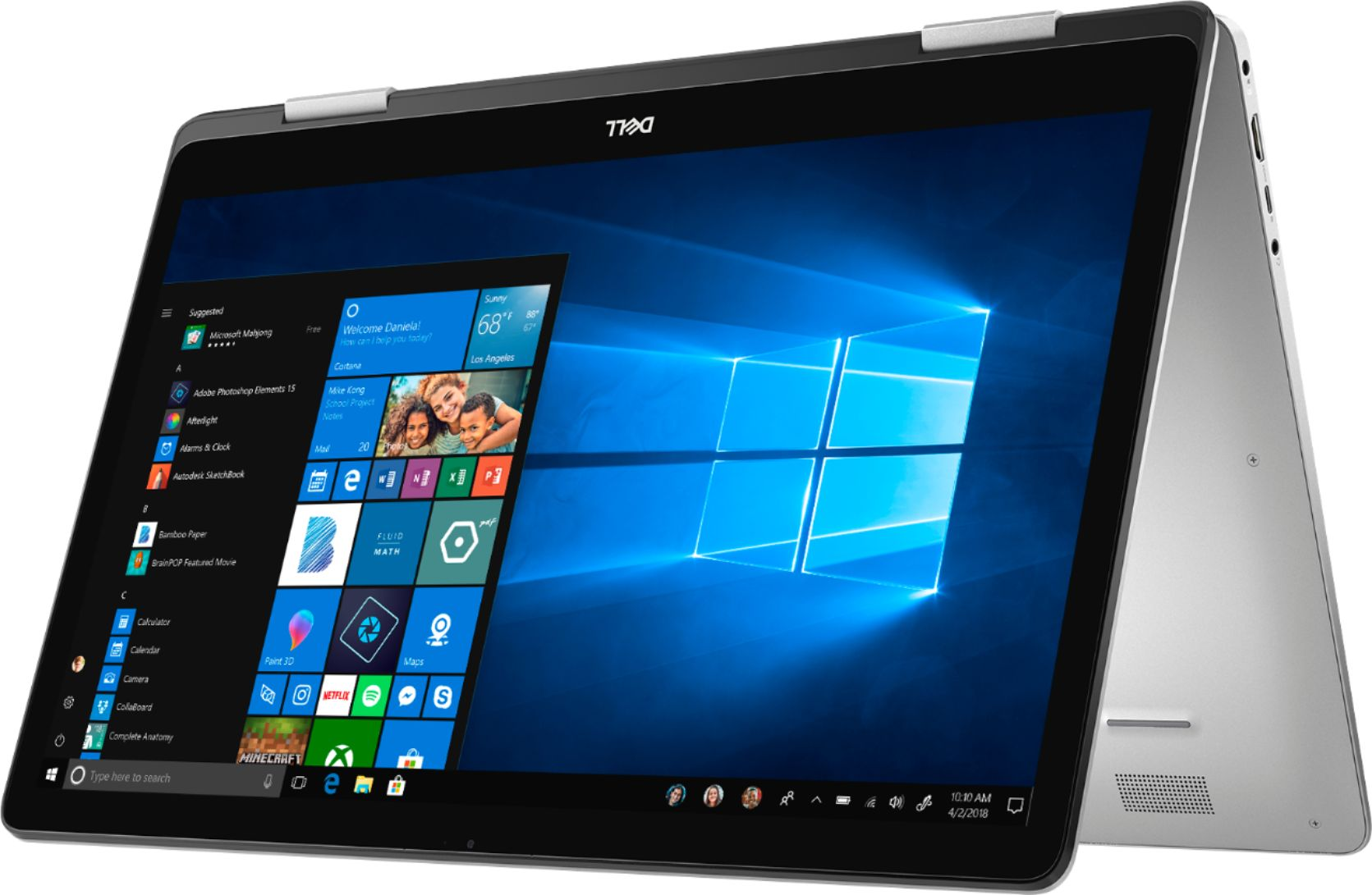 """Left Zoom. Dell - Inspiron 2-in-1 17.3"""" Geek Squad Certified Refurbished Touch-Screen Laptop - Intel Core i7 - 16GB Memory - 512GB SSD - Silver."""