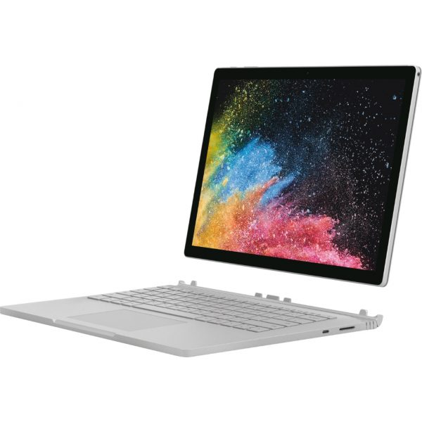 """Microsoft - Geek Squad Certified Refurbished Surface Book 2 - 13.5"""" Touch-Screen Laptop - Intel Core i5 - 8GB Memory - 128GB SSD - Platinum"""