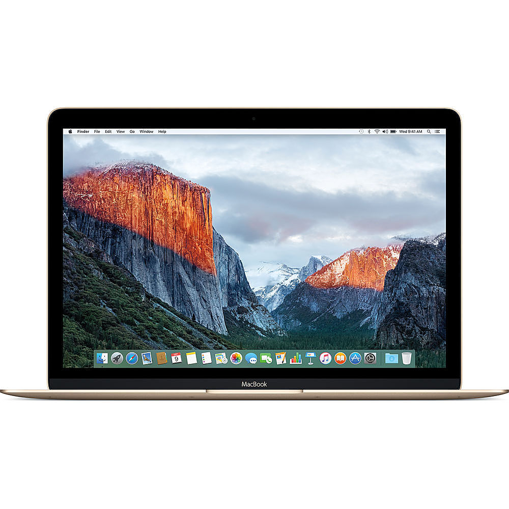 """Front Zoom. Apple - Macbook - 12"""" Pre-Owned - Intel Core M3 - 8GB Memory - 256GB Solid State Drive - Gold."""
