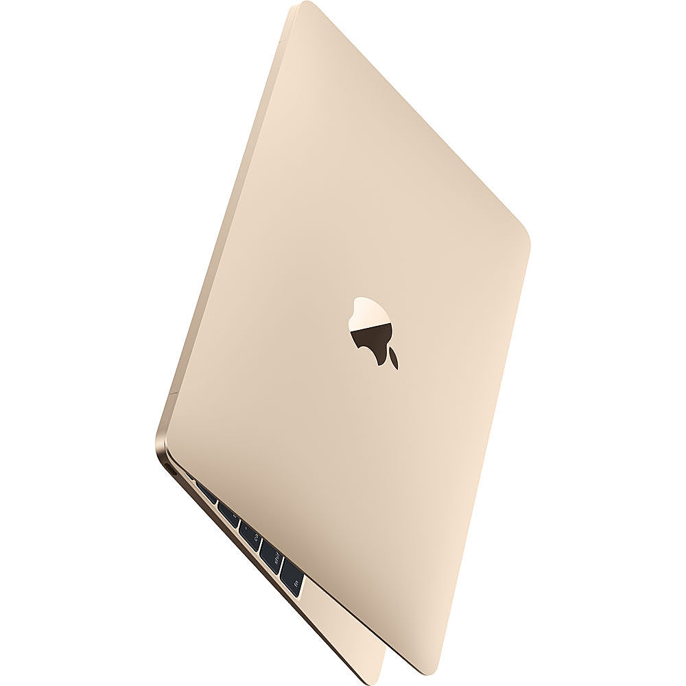 """Angle Zoom. Apple - Macbook - 12"""" Pre-Owned - Intel Core M3 - 8GB Memory - 256GB Solid State Drive - Gold."""