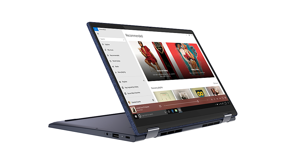 "Left Zoom. Lenovo Yoga 6 13 2-in-1 13.3"" Touch Screen Laptop - AMD Ryzen 5 - 8GB Memory - 512GB SSD - Abyss Blue Fabric Cover."