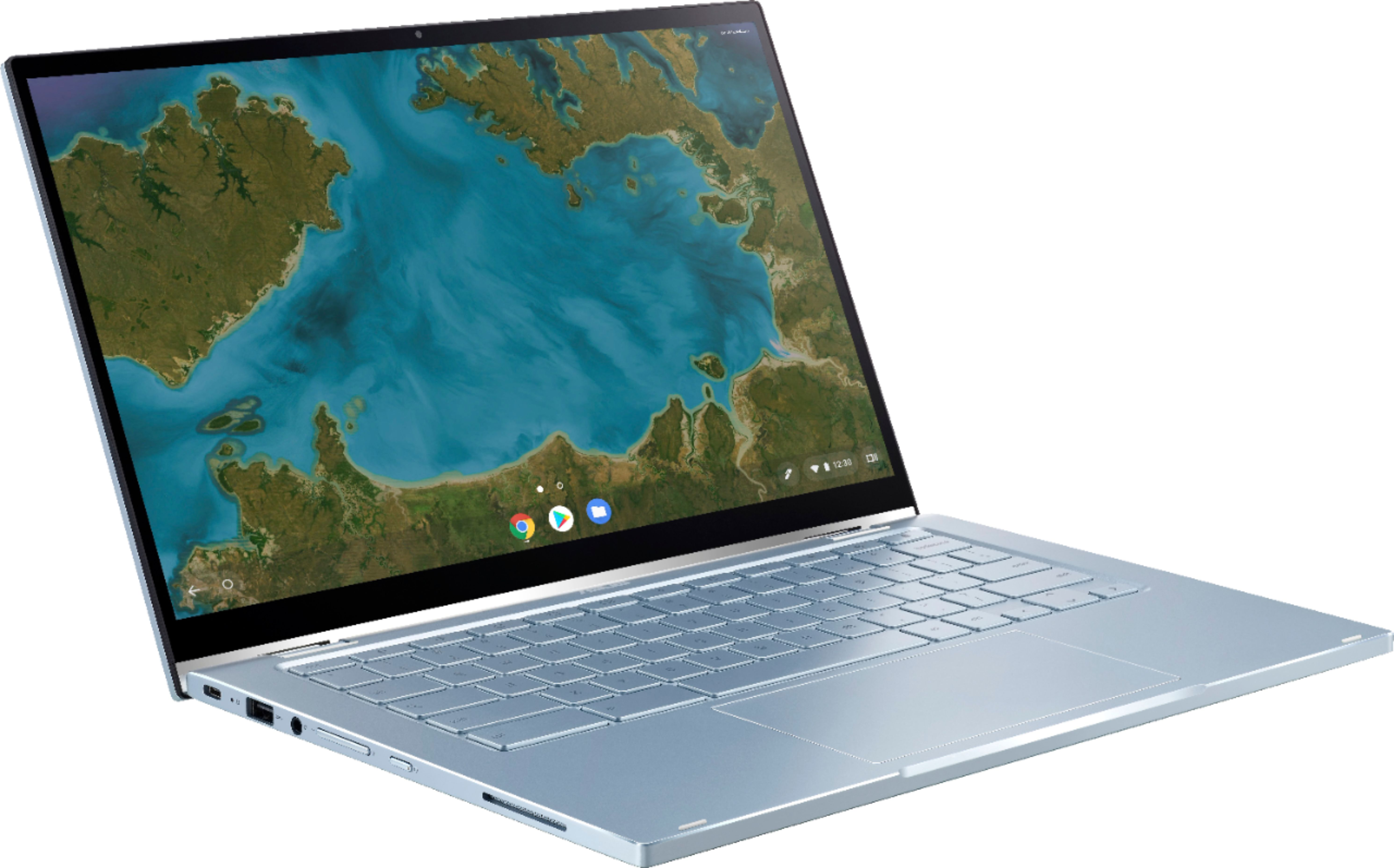 """Angle Zoom. ASUS - 2-in-1 14"""" Touch-Screen Chromebook - Intel Core m3 - 4GB Memory - 64GB eMMC Flash Memory - Blue Silver."""