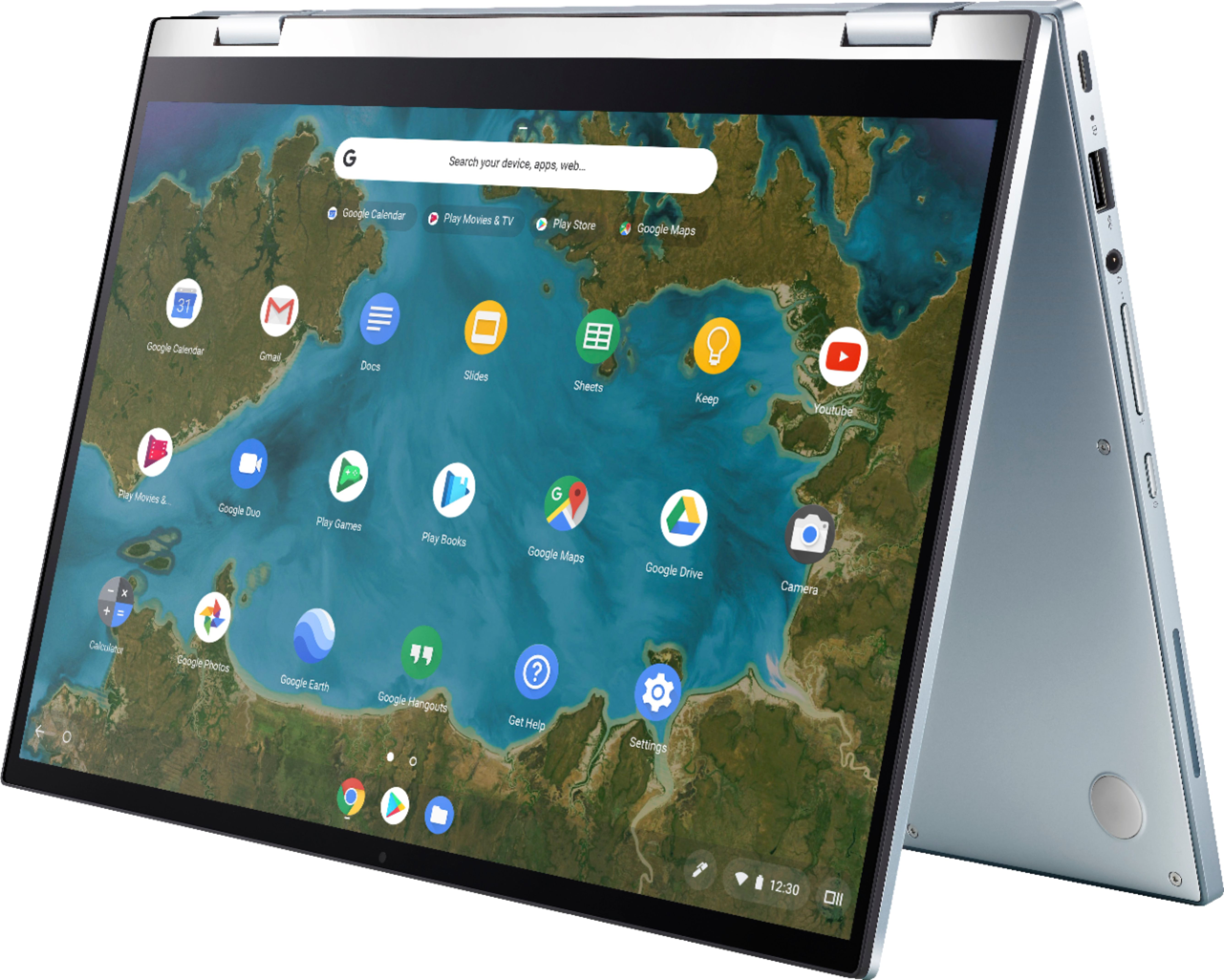 """Left Zoom. ASUS - 2-in-1 14"""" Touch-Screen Chromebook - Intel Core m3 - 4GB Memory - 64GB eMMC Flash Memory - Blue Silver."""