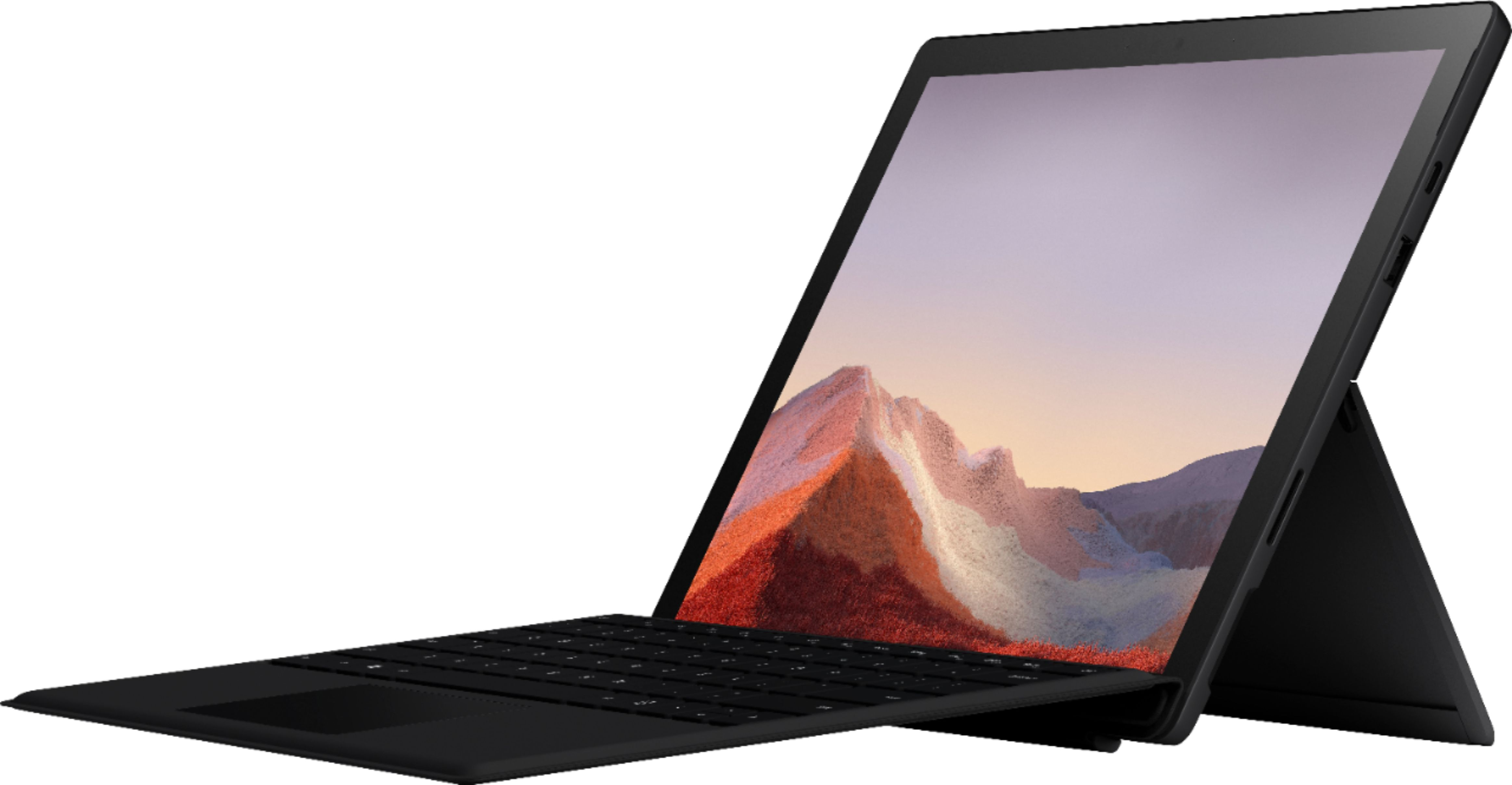 """Front Zoom. Microsoft - Surface Pro 7 - 12.3"""" Touch Screen - Intel Core i5 - 8GB Memory - 256GB SSD with Black Type Cover (Latest Model) - Matte Black."""