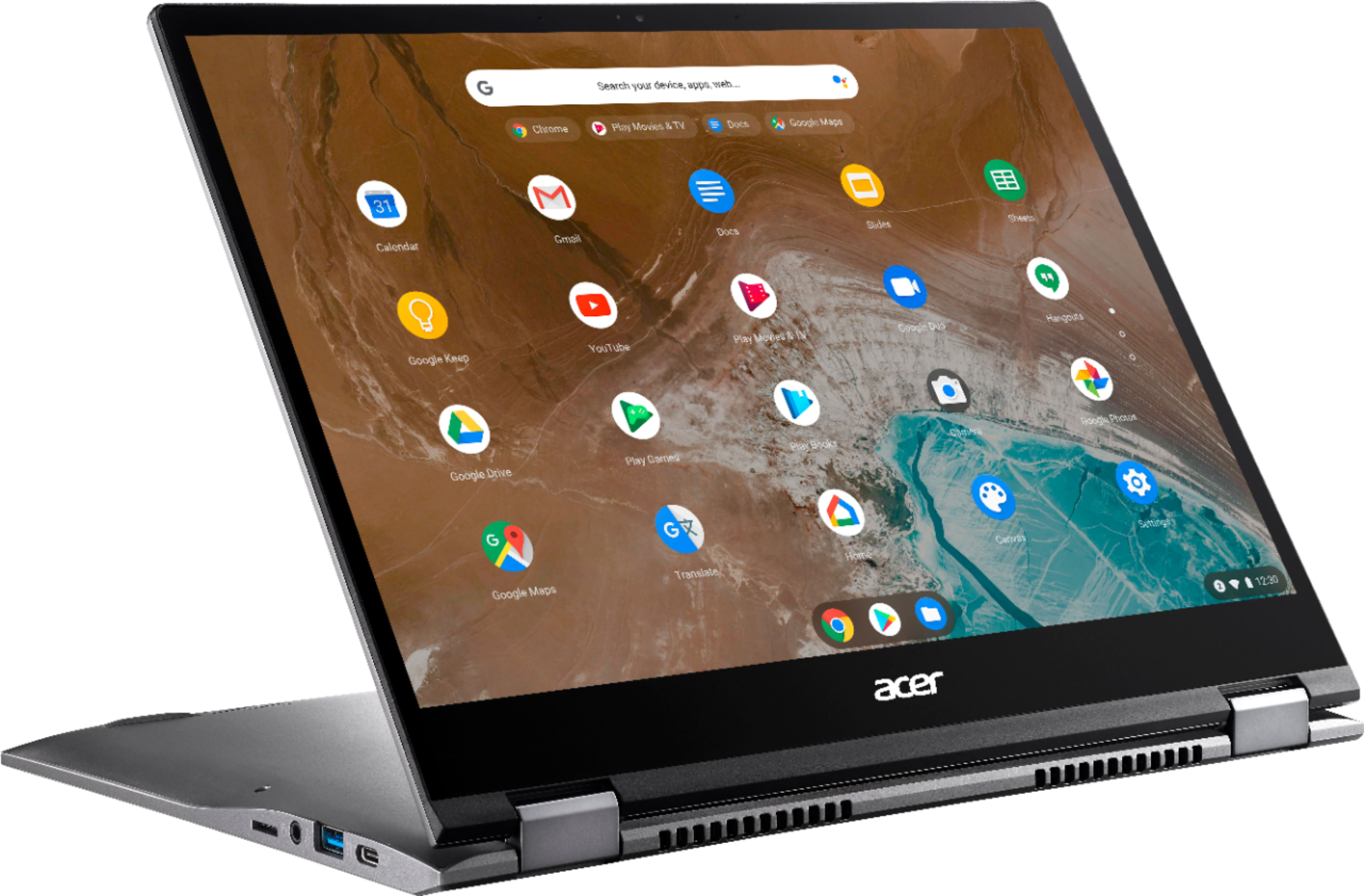 """Angle Zoom. Acer - Chromebook Spin 713 2-in-1 13.5"""" 2K VertiView 3:2 Touch - Intel i5-10210U - 8GB Memory - 128GB SSD – Steel Gray."""