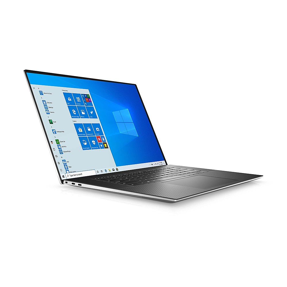 "Angle Zoom. Dell - XPS 17"" UHD+ Touch Laptop - Intel Core i7 - 32GB Memory - 1TB SSD - NVIDIA GeForce RTX 2060 - Platinum Silver, black interior."