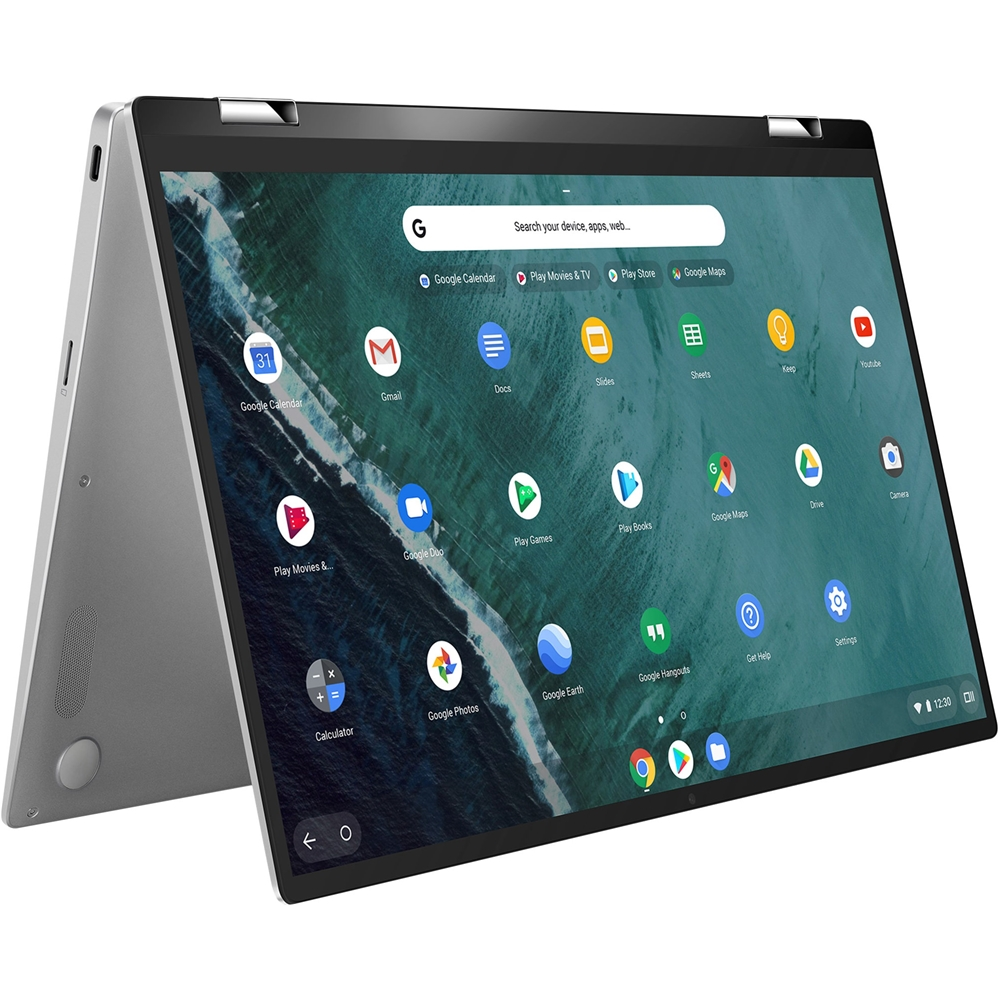 """Left Zoom. ASUS - Flip C434TA 2-in-1 14"""" Touch-Screen Chromebook - Intel Core m3 - 4GB Memory - 64GB eMMC Flash Memory - Spangle Silver."""