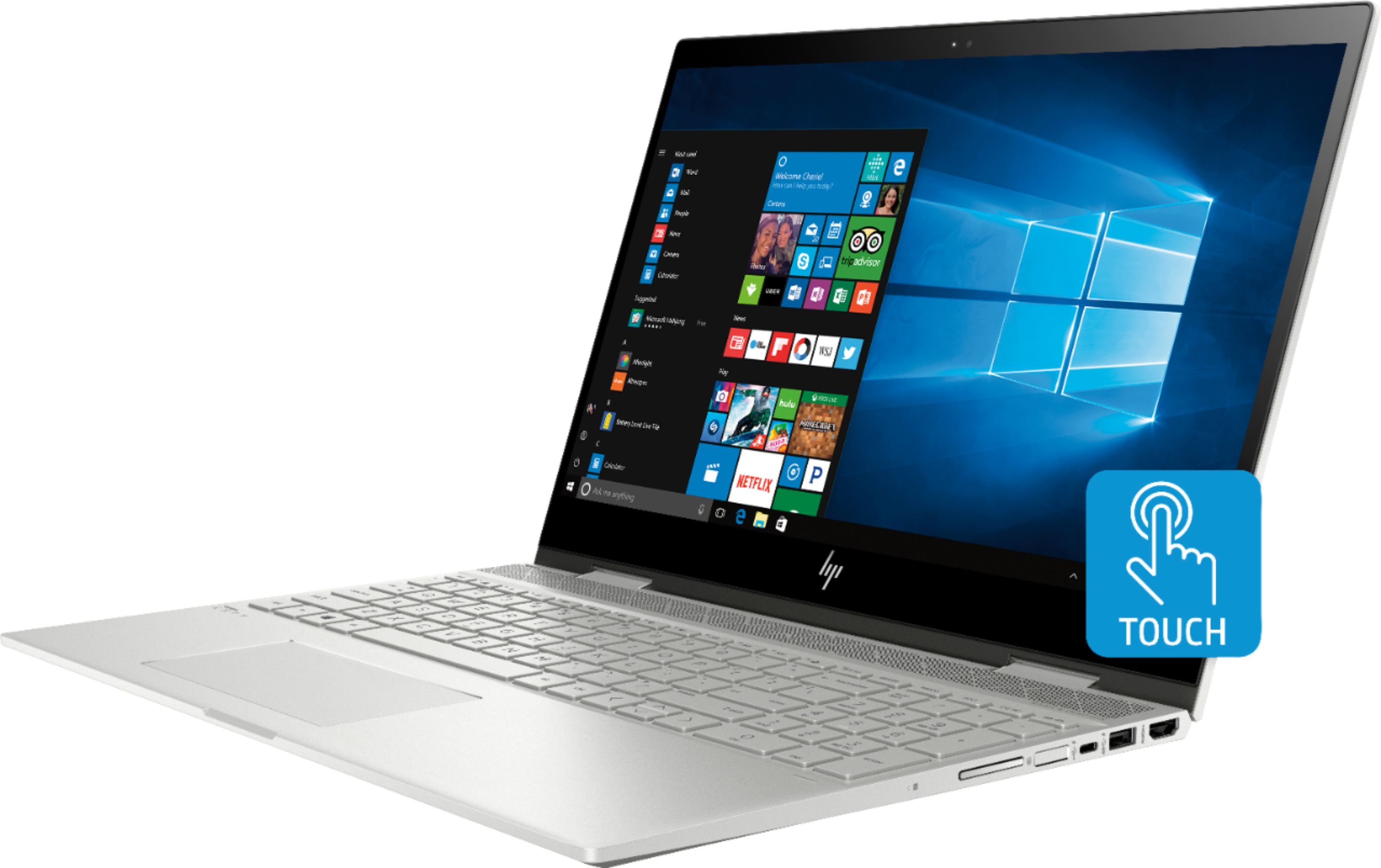 """Left Zoom. Geek Squad Certified Refurbished ENVY x360 2-in-1 15.6"""" Touch-Screen Laptop - Intel Core i7 - 12GB Memory - 256GB SSD - HP Finish In Natural Silver."""