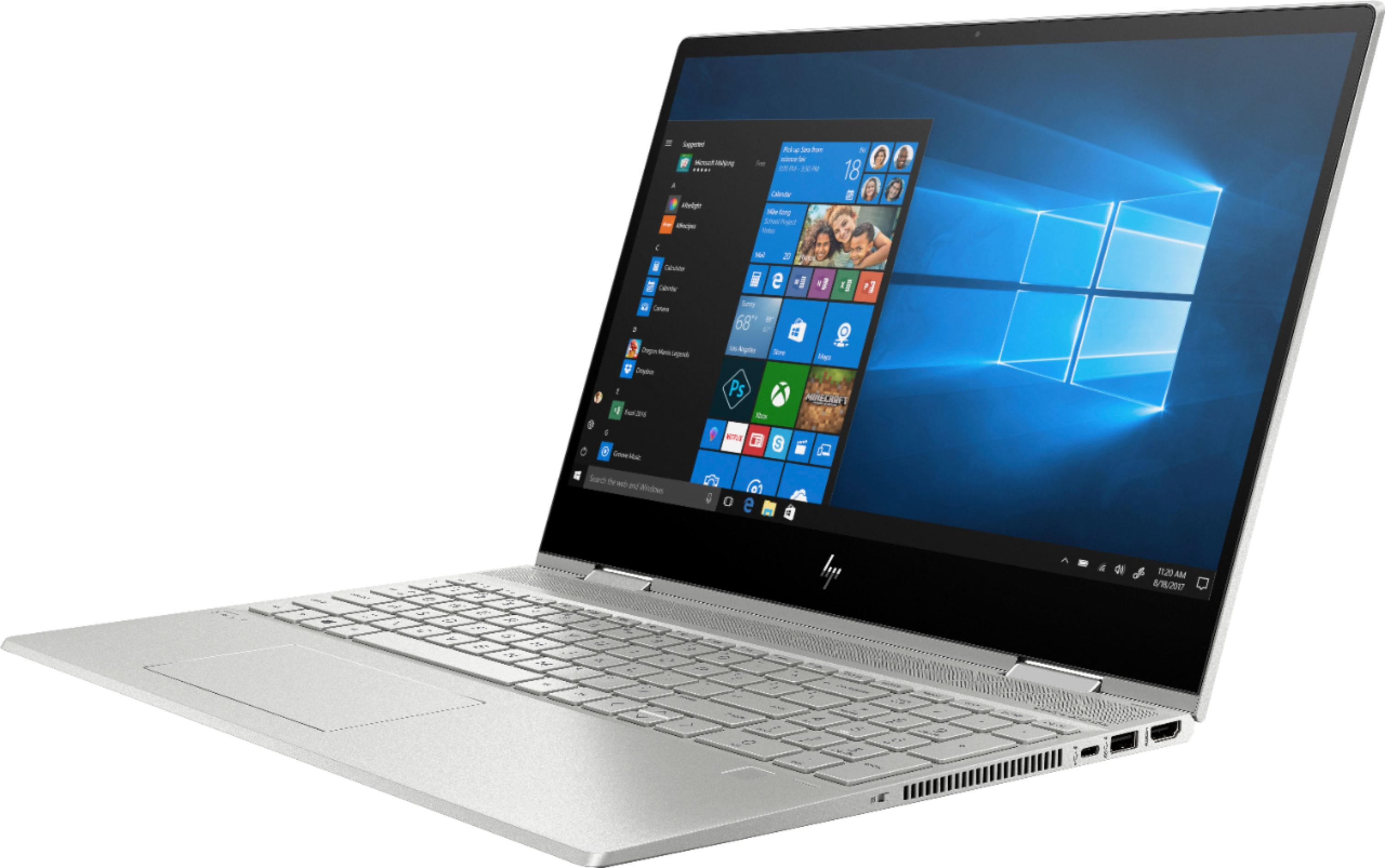"""Left Zoom. HP - ENVY x360 2-in-1 15.6"""" Touch-Screen Laptop - Intel Core i5 - 8GB Memory - 256GB Solid State Drive - Natural Silver, Sandblasted Anodized Finish."""