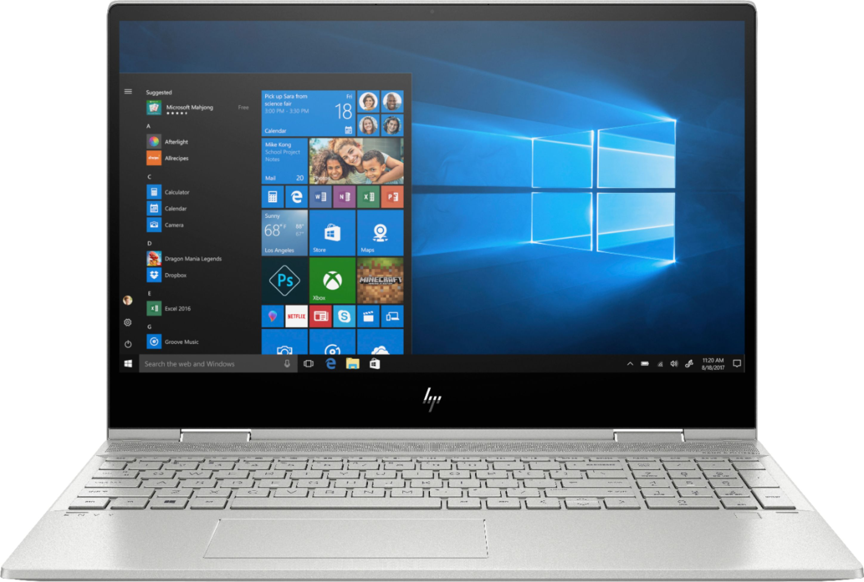 """Front Zoom. HP - ENVY x360 2-in-1 15.6"""" Touch-Screen Laptop - Intel Core i5 - 8GB Memory - 256GB Solid State Drive - Natural Silver, Sandblasted Anodized Finish."""