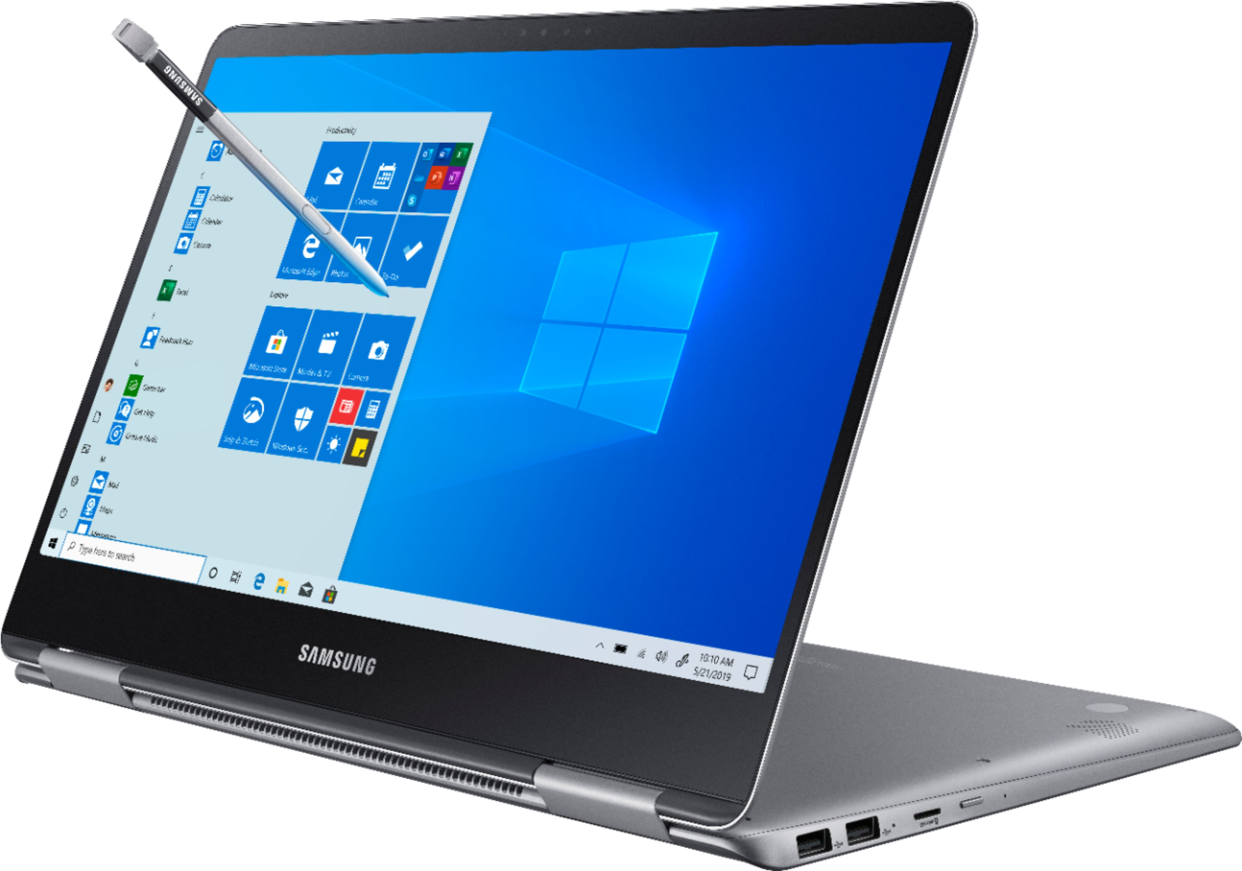 """Left Zoom. Samsung - Notebook 9 Pro - 15"""" Touch-Screen Laptop – Intel Core i7 – 16GB Memory – AMD Radeon 540 – 256GB Solid State Drive - Titan silver."""