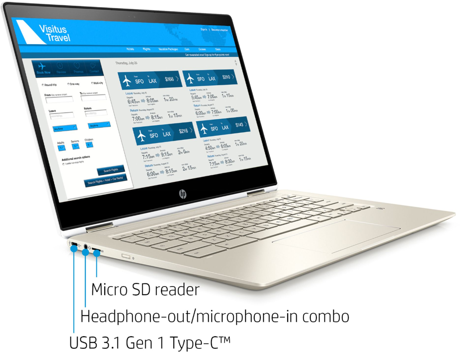 """Angle Zoom. HP - 2-in-1 14"""" Touch-Screen Chromebook - Intel Core i3 - 8GB Memory - 64GB eMMC Flash Memory - White."""