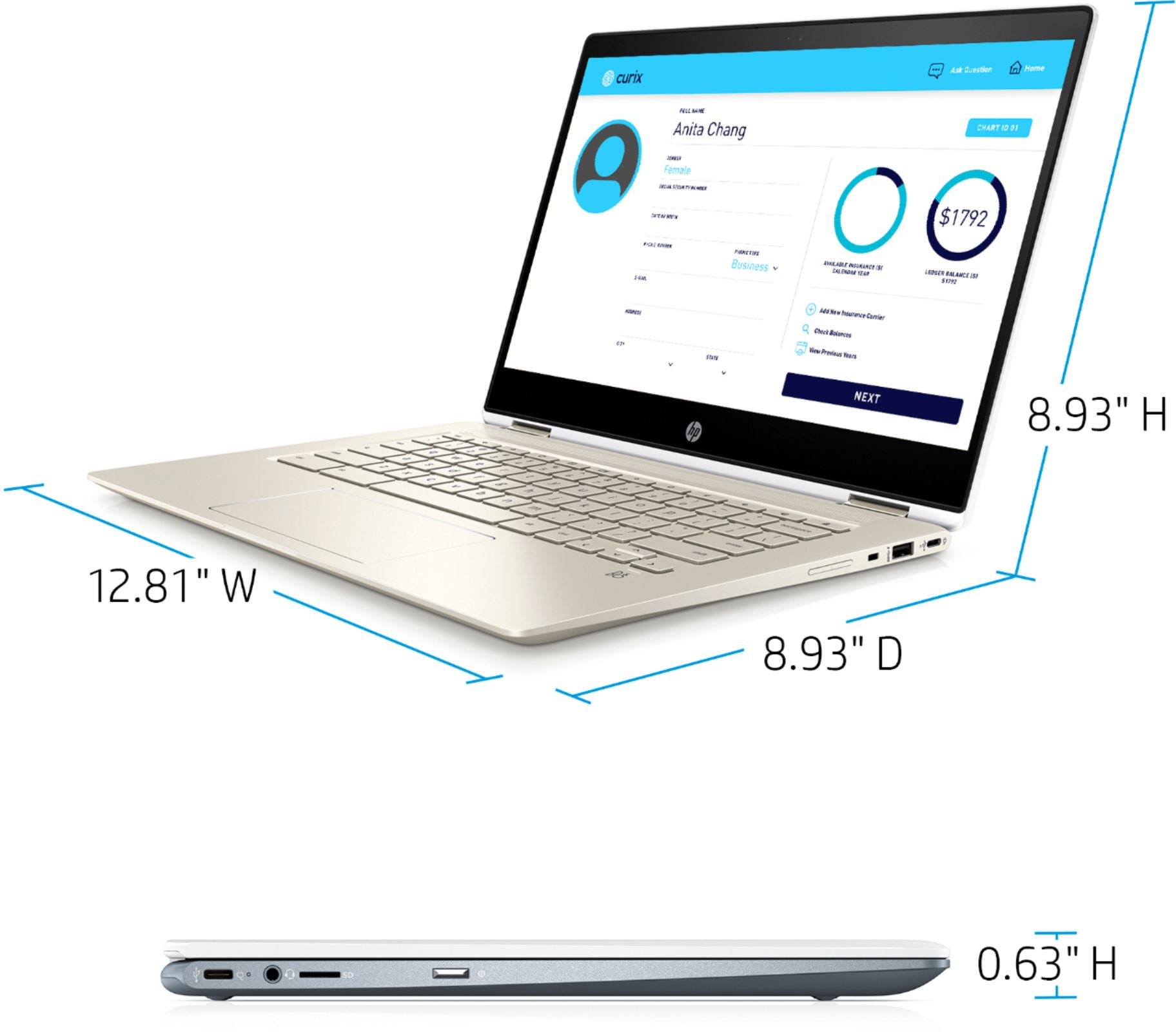 """Left Zoom. HP - 2-in-1 14"""" Touch-Screen Chromebook - Intel Core i3 - 8GB Memory - 64GB eMMC Flash Memory - White."""