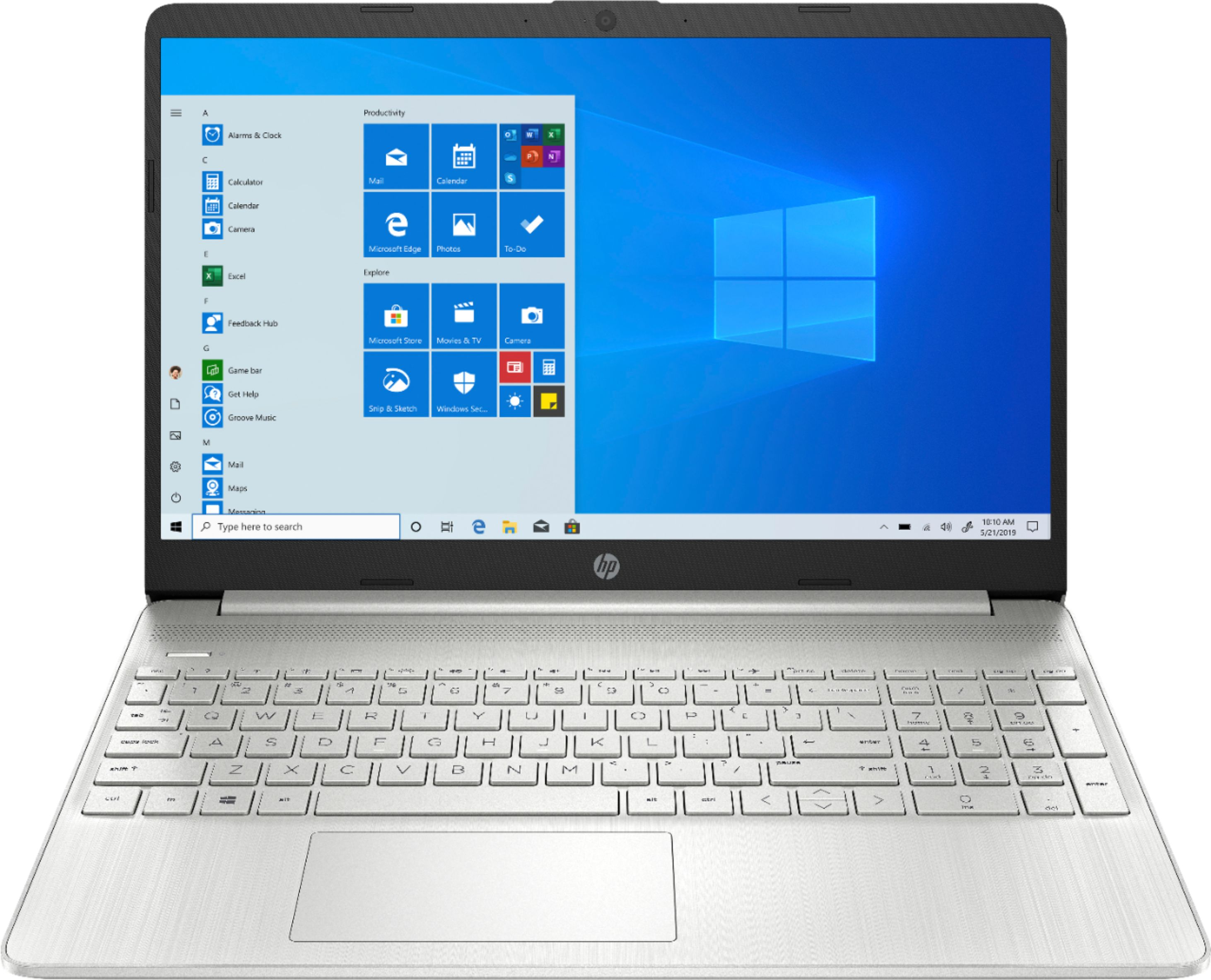 """Front Zoom. HP - 15.6"""" Touch-Screen Laptop - AMD Ryzen 5 - 12GB Memory - 256GB SSD - Natural Silver."""