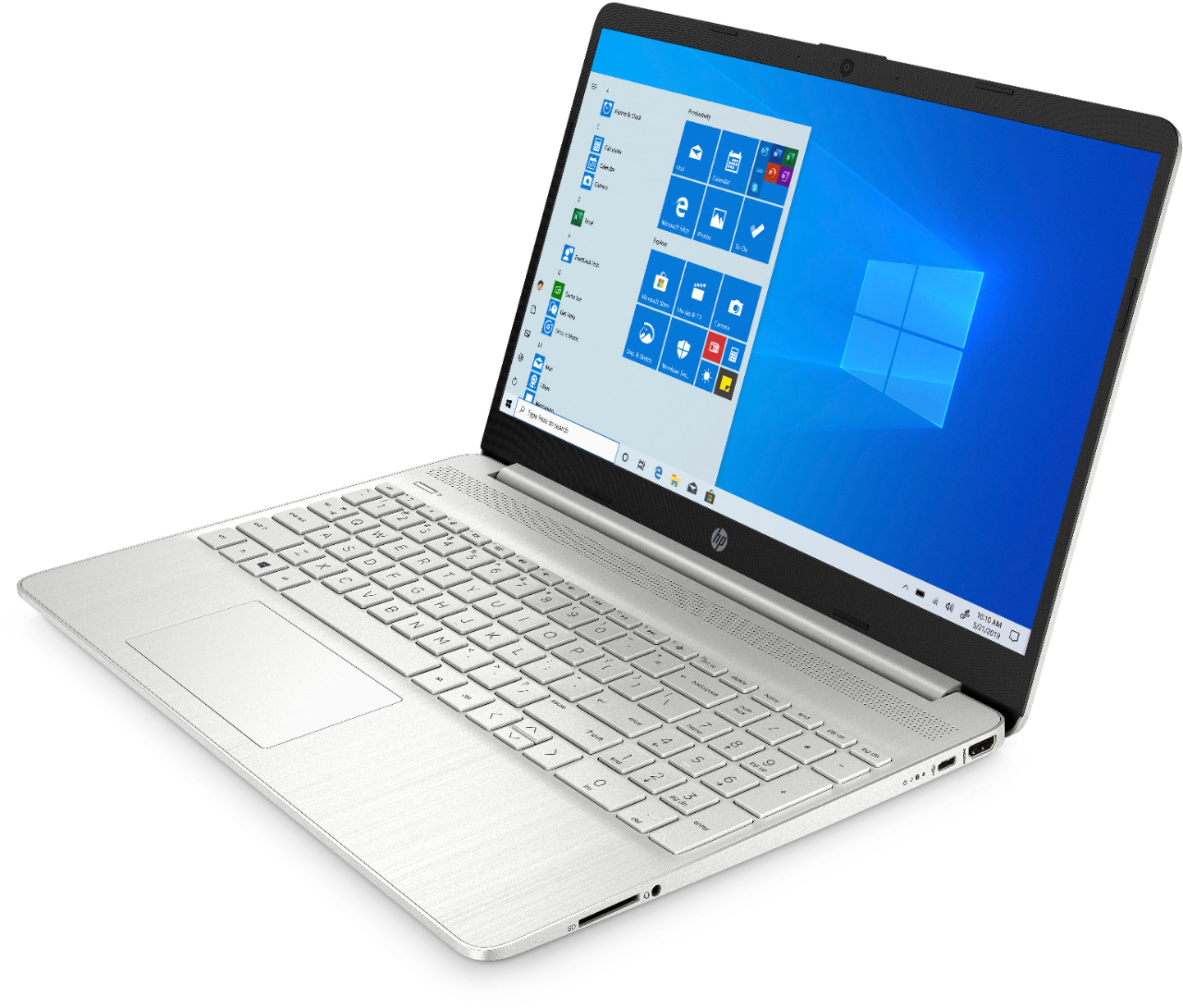 """Left Zoom. HP - 15.6"""" Touch-Screen Laptop - AMD Ryzen 5 - 12GB Memory - 256GB SSD - Natural Silver."""