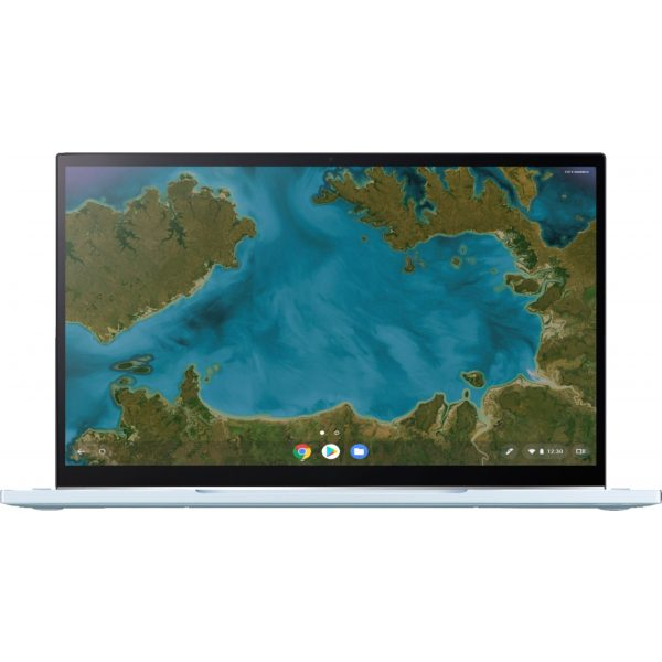 """ASUS - 2-in-1 14"""" Touch-Screen Chromebook - Intel Core m3 - 4GB Memory - 64GB eMMC Flash Memory - Blue Silver"""