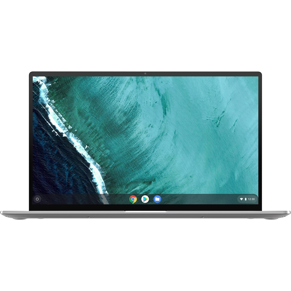 """Front Zoom. ASUS - Flip C434TA 2-in-1 14"""" Touch-Screen Chromebook - Intel Core m3 - 4GB Memory - 64GB eMMC Flash Memory - Spangle Silver."""