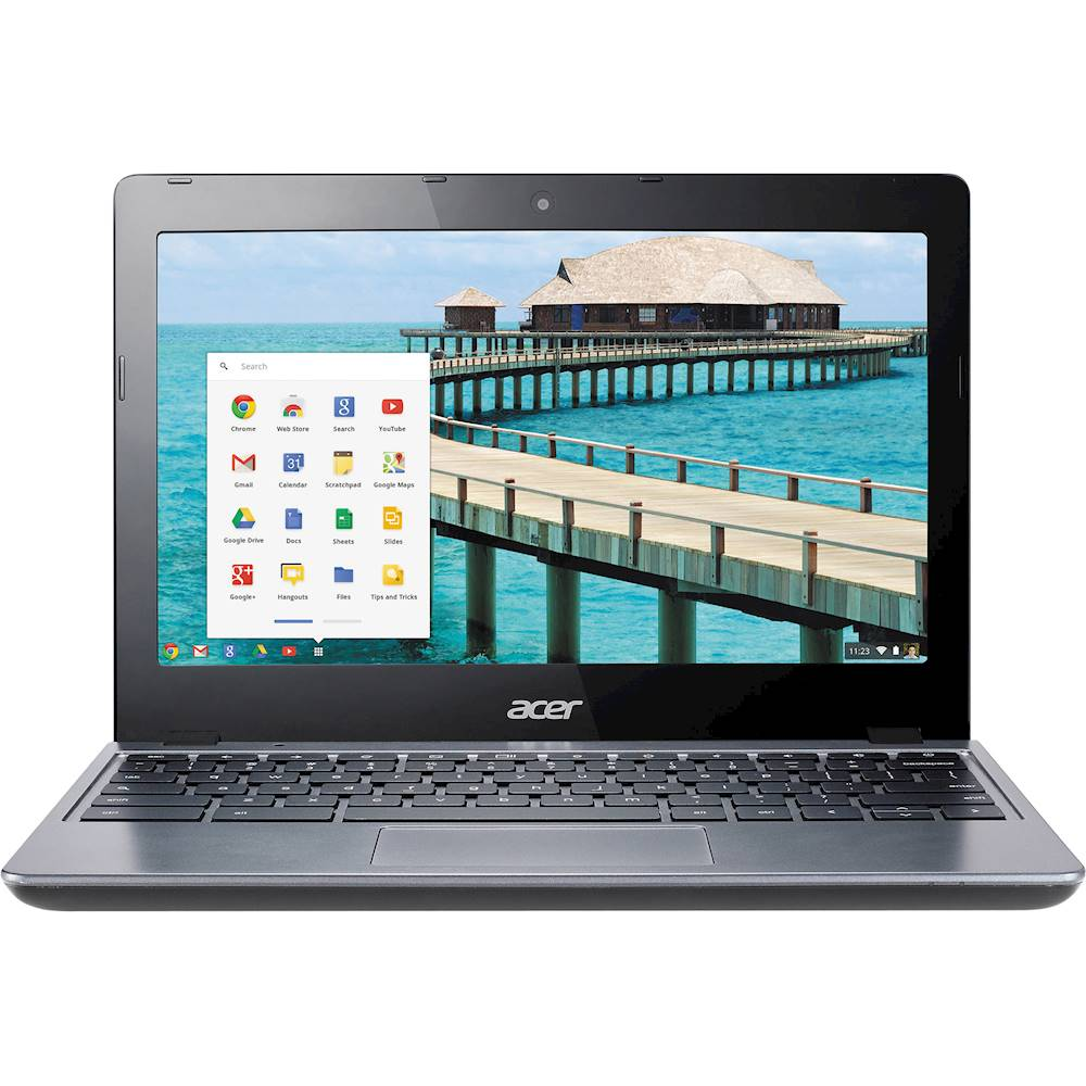 """Front Zoom. Acer - 11.6"""" Chromebook - Intel Celeron - 4GB Memory - 16GB Solid State Drive - Pre-Owned - Black."""