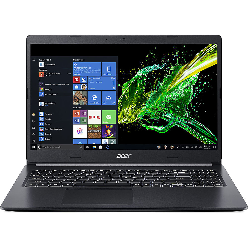 """Front Zoom. Acer - Aspire 5 15.6"""" Refurbished Laptop - Intel Core i5 10210U - 8GB Memory - 512GB Solid State Drive - Black."""