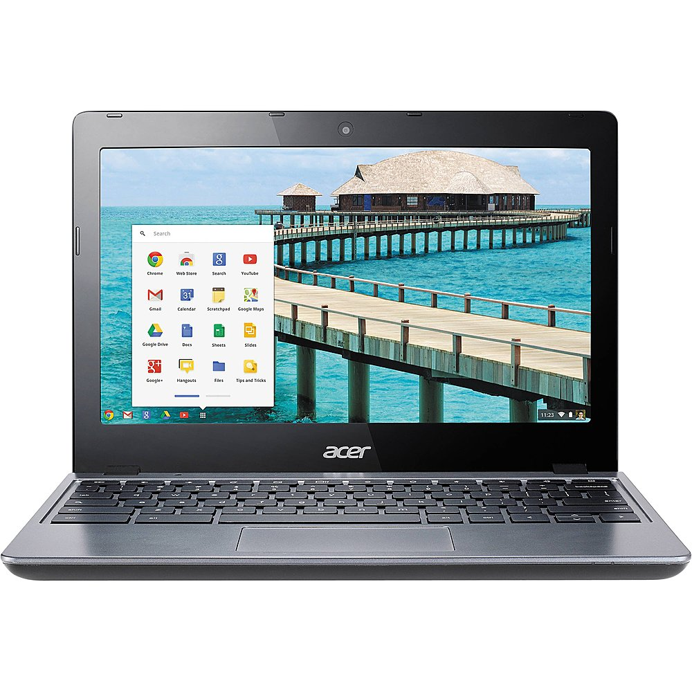 """Front Zoom. Acer - C720P 11.6"""" Pre-Owned Touchscreen Chromebook - Intel Celeron 2955U - 4GB Memory - 16GB HDD."""