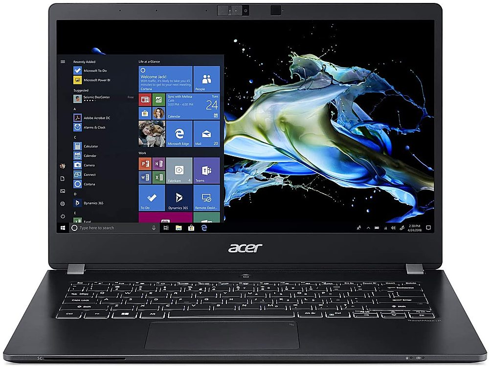 """Front Zoom. Acer - TravelMate 14"""" Refurbished Laptop - Intel Core i7 8565U - 16GB Memory - 512GB Solid State Drive - Black."""