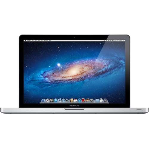 """Front Standard. Apple - MacBook Pro 15"""" Pre-owned Laptop - Intel Core i7 - 4GB Memory - 500GB Hard Drive - Silver."""